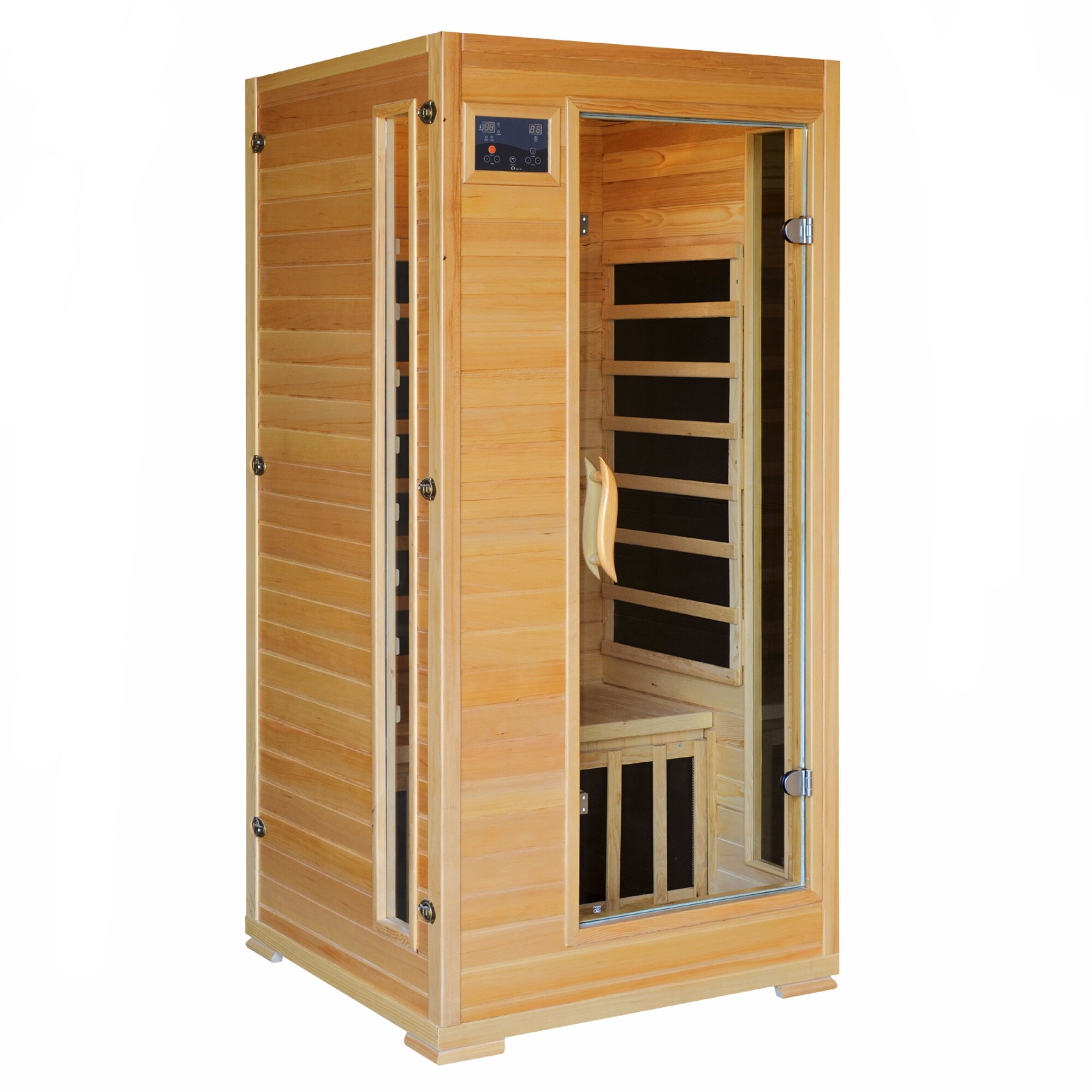radiant saunas 1 2 person hemlock infrared sauna with 4 carbon heaters reviews wayfair. Black Bedroom Furniture Sets. Home Design Ideas