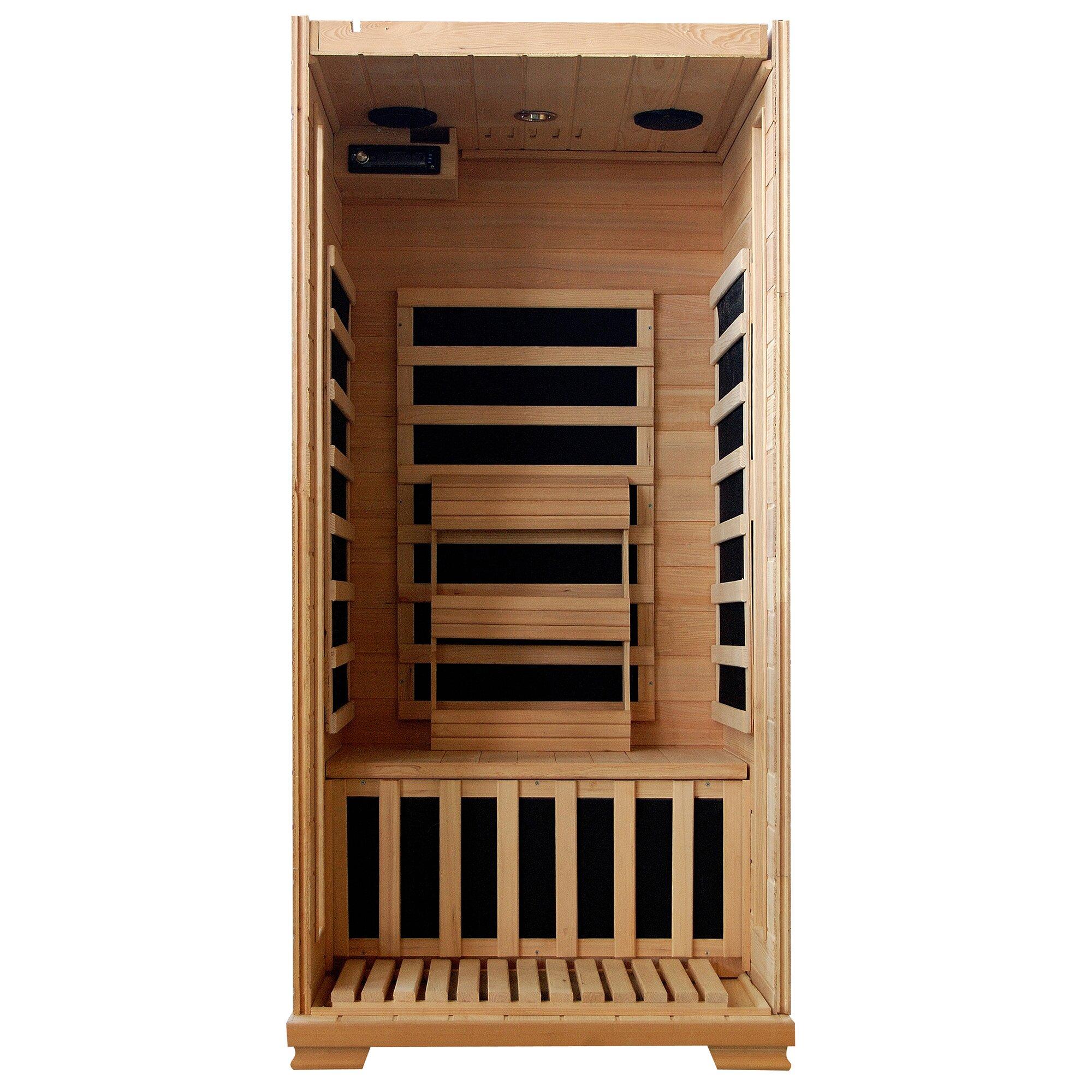 radiant saunas 1 2 person hemlock infrared sauna with 4 carbon heaters reviews wayfair. Black Bedroom Furniture Sets. Home Design Ideas