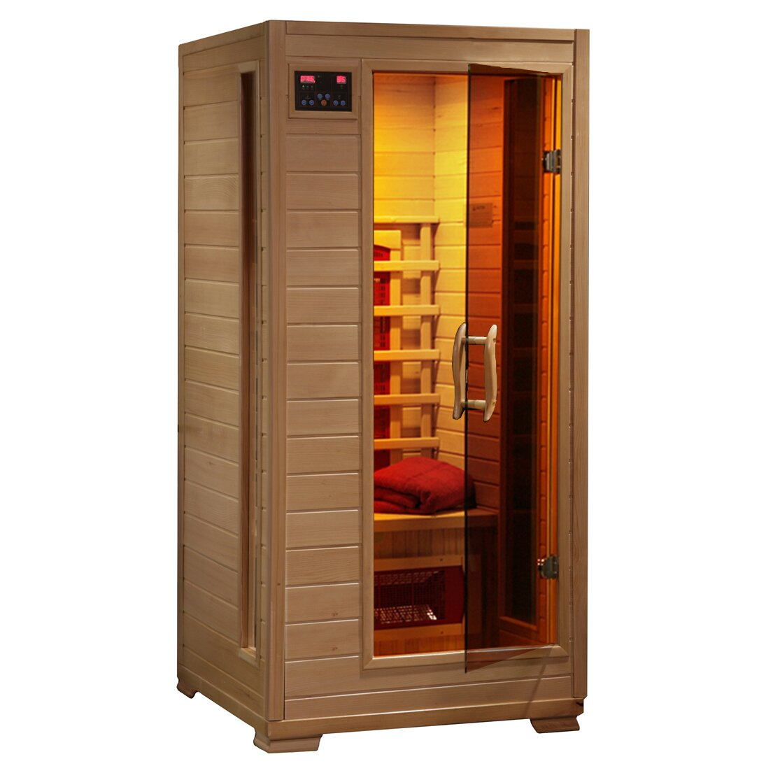 radiant saunas 1 2 person ceramic far infrared sauna w 3 ceramic heaters reviews wayfair. Black Bedroom Furniture Sets. Home Design Ideas