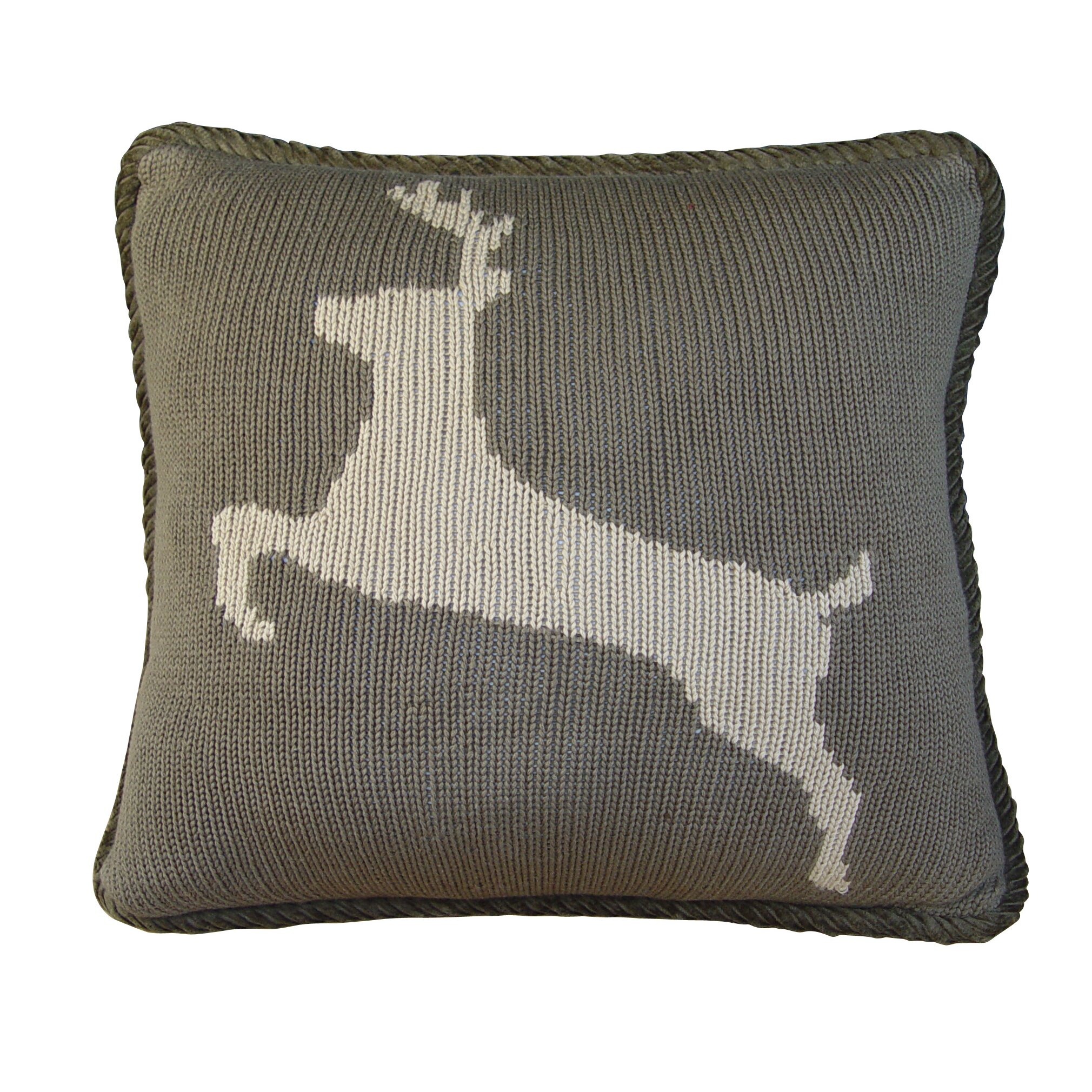 Throw Pillows Deer : HiEnd Accents Deer Knitted Throw Pillow Wayfair