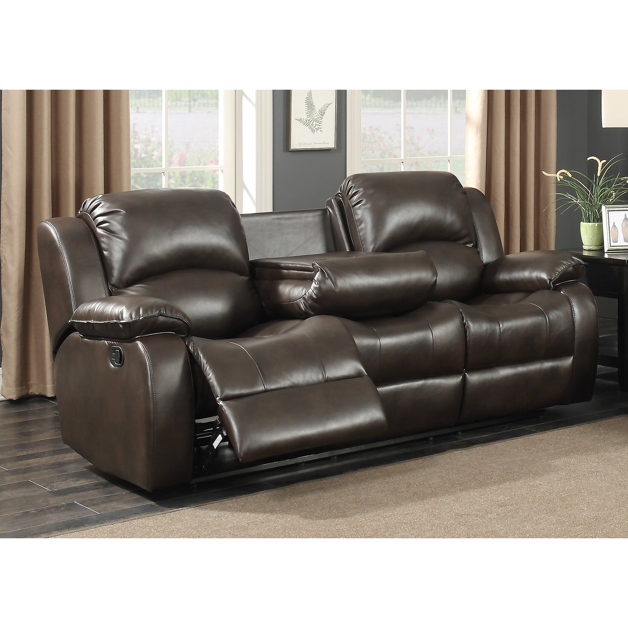 B751 Transitional Reclining Sectional With Storage Console: AC Pacific Samara Transitional Reclining Sofa