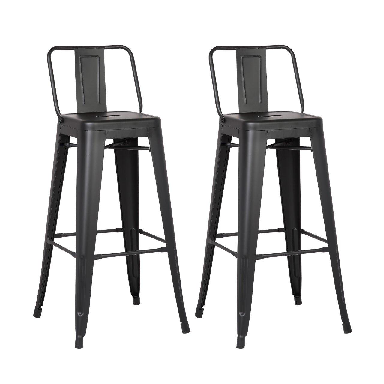 Ac pacific 30 bar stool reviews wayfair for Black bar stools