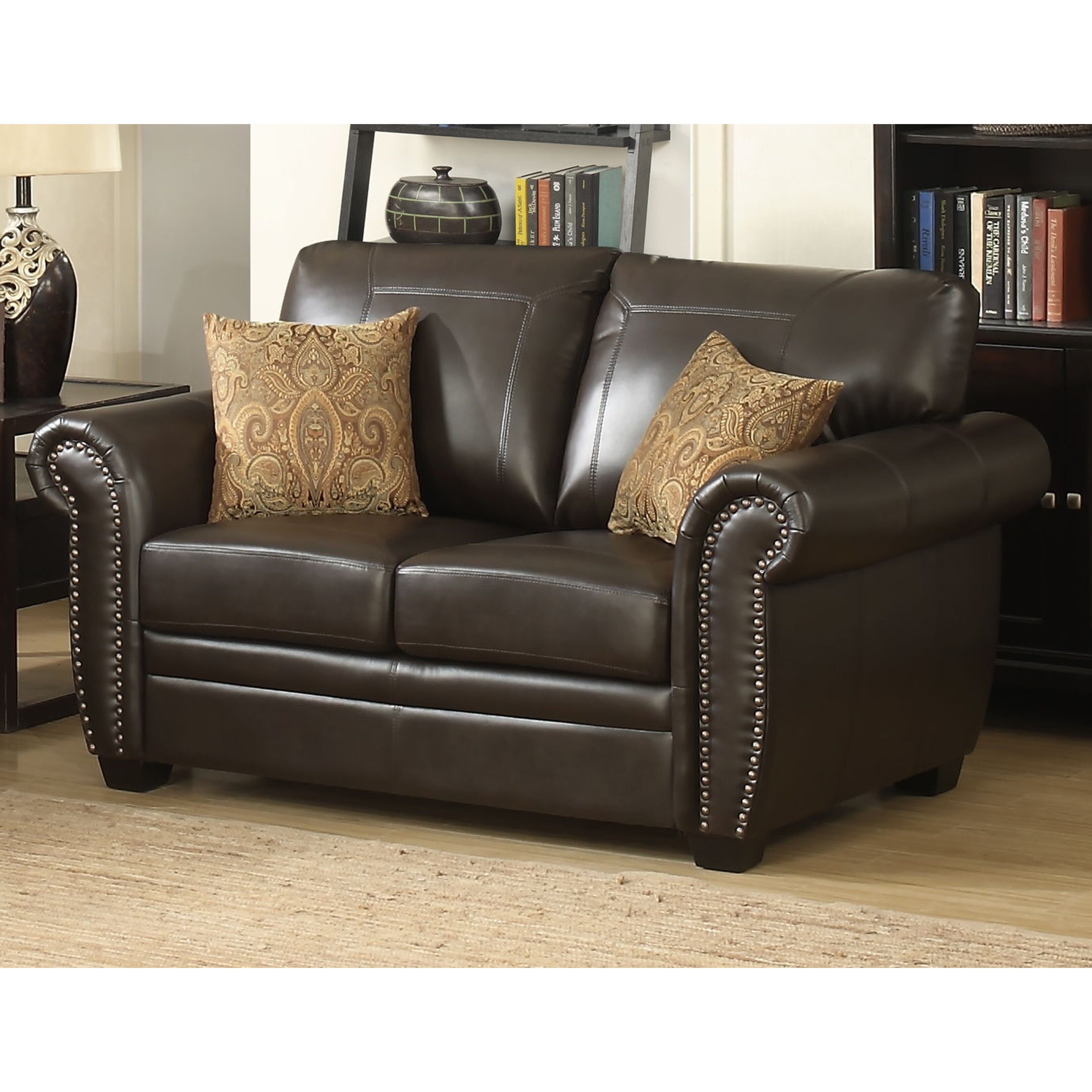 Ac Pacific Louis Stationary Leather Loveseat Wayfair