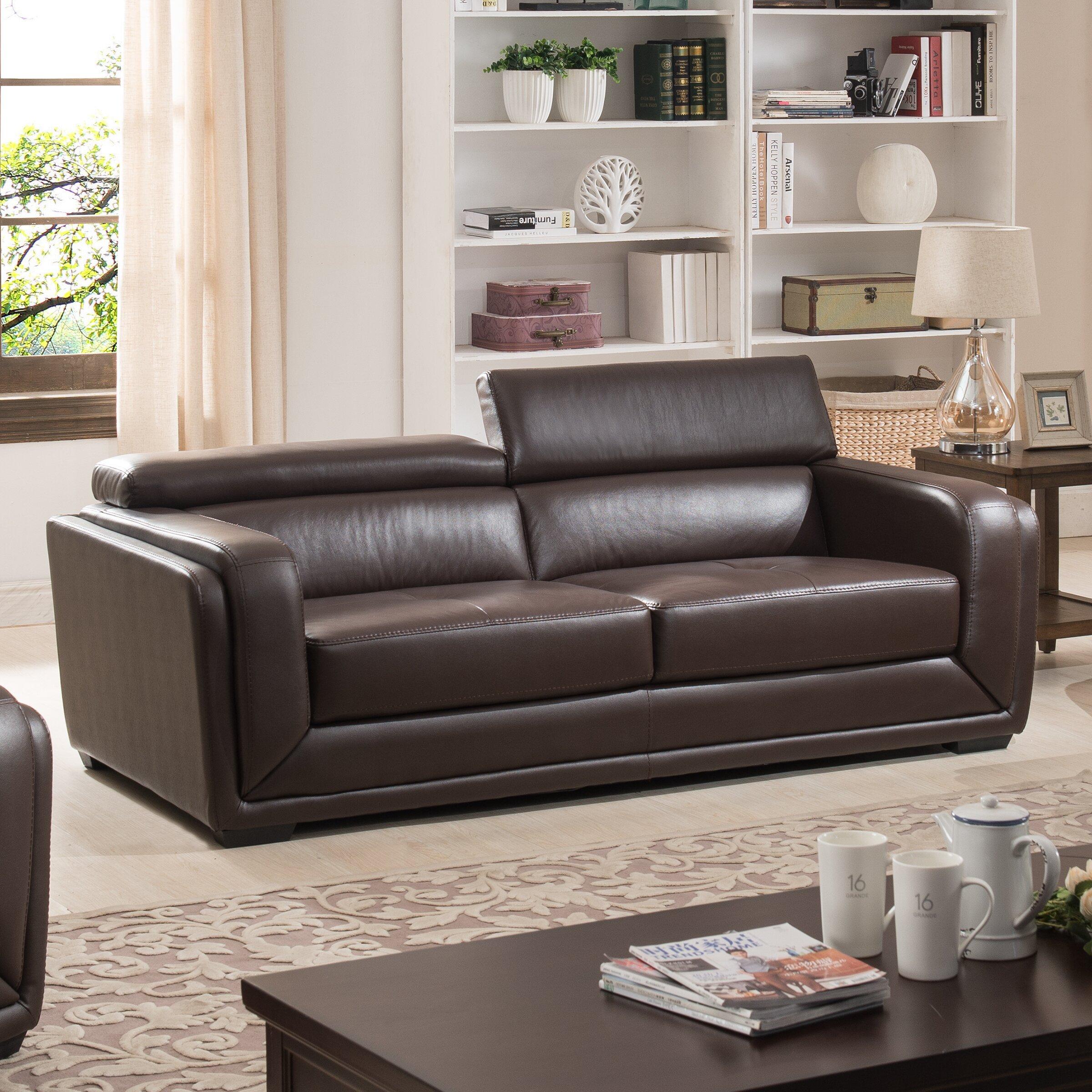Ac Pacific Calvin Leather Sofa Wayfair
