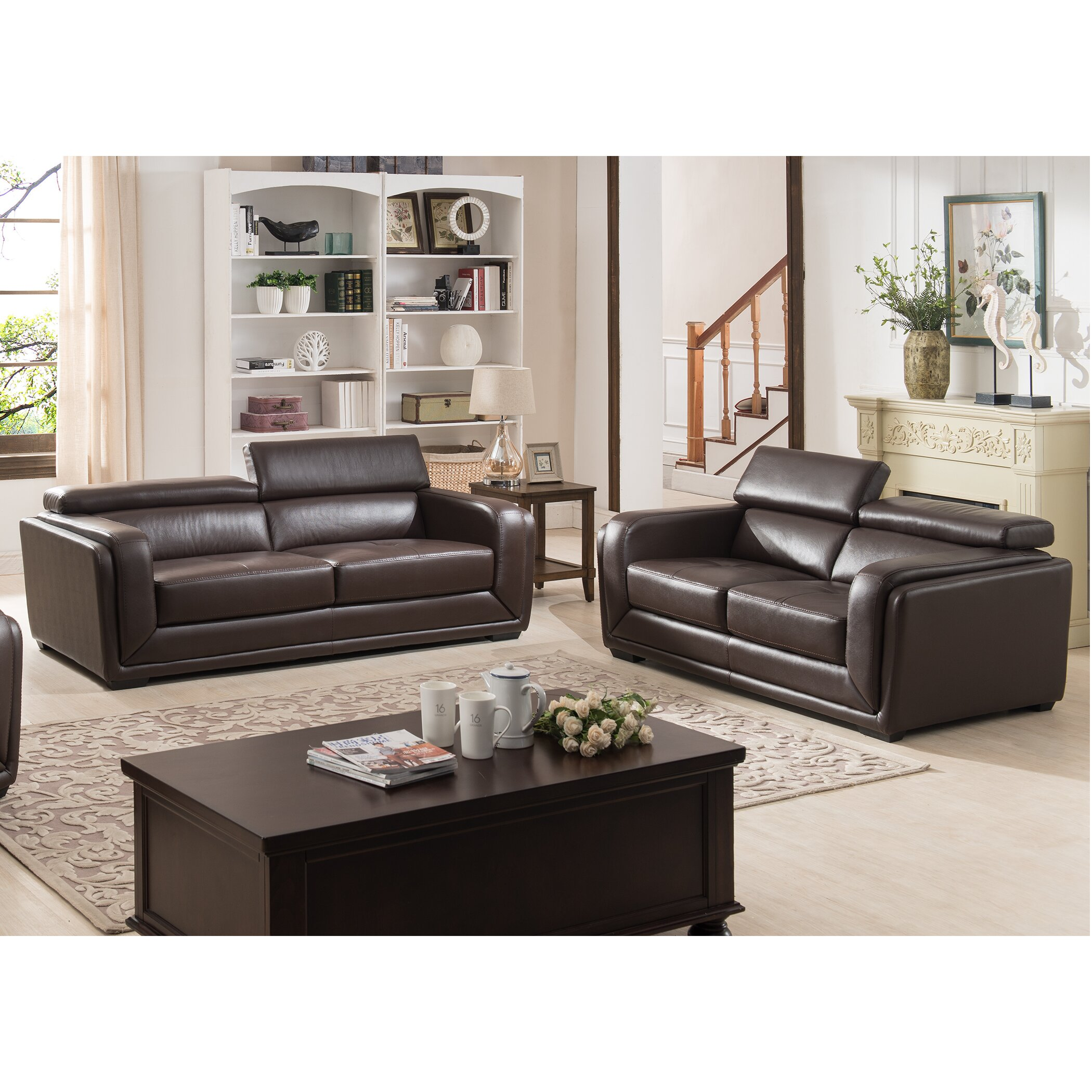 Ac pacific calvin modern leather 2 piece living room set wayfair 2 piece leather living room set