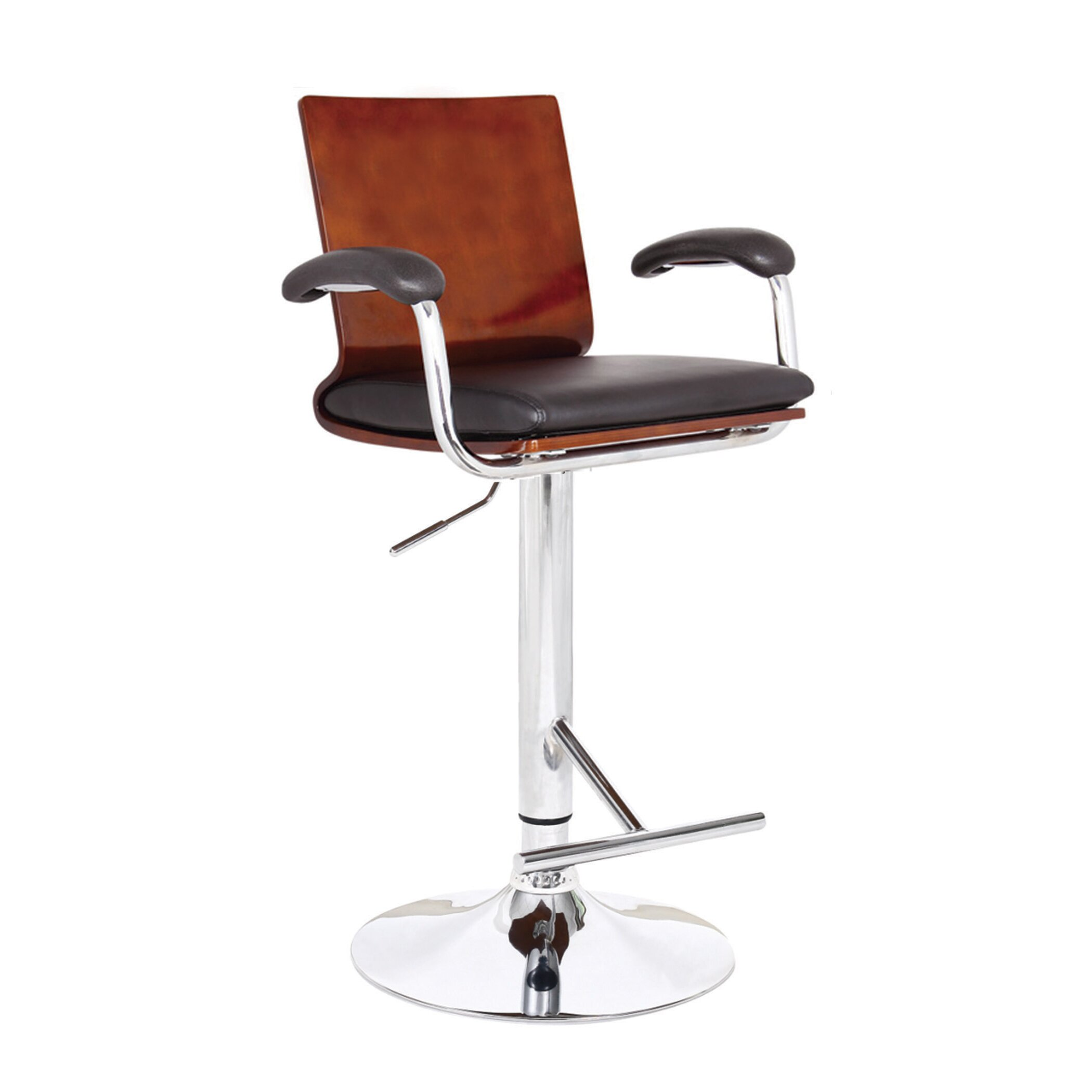 Ac Pacific Modern Wood Adjustable Height Swivel Bar Stool