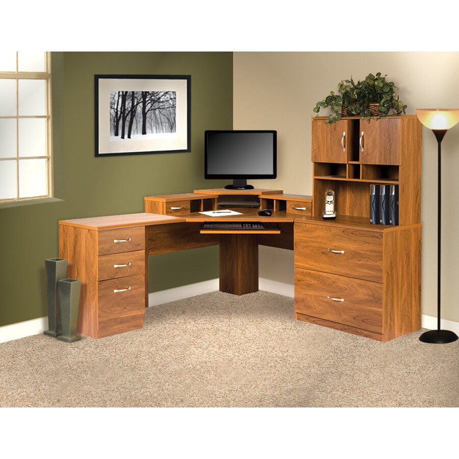 Os home office furniture office adaptations corner computer desk with monitor platform - Home office corner desk furniture ...