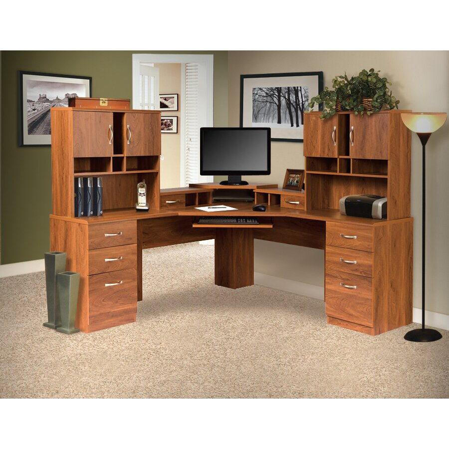 Os home office furniture office adaptations corner computer desk with monitor platform - Corner office desk ...