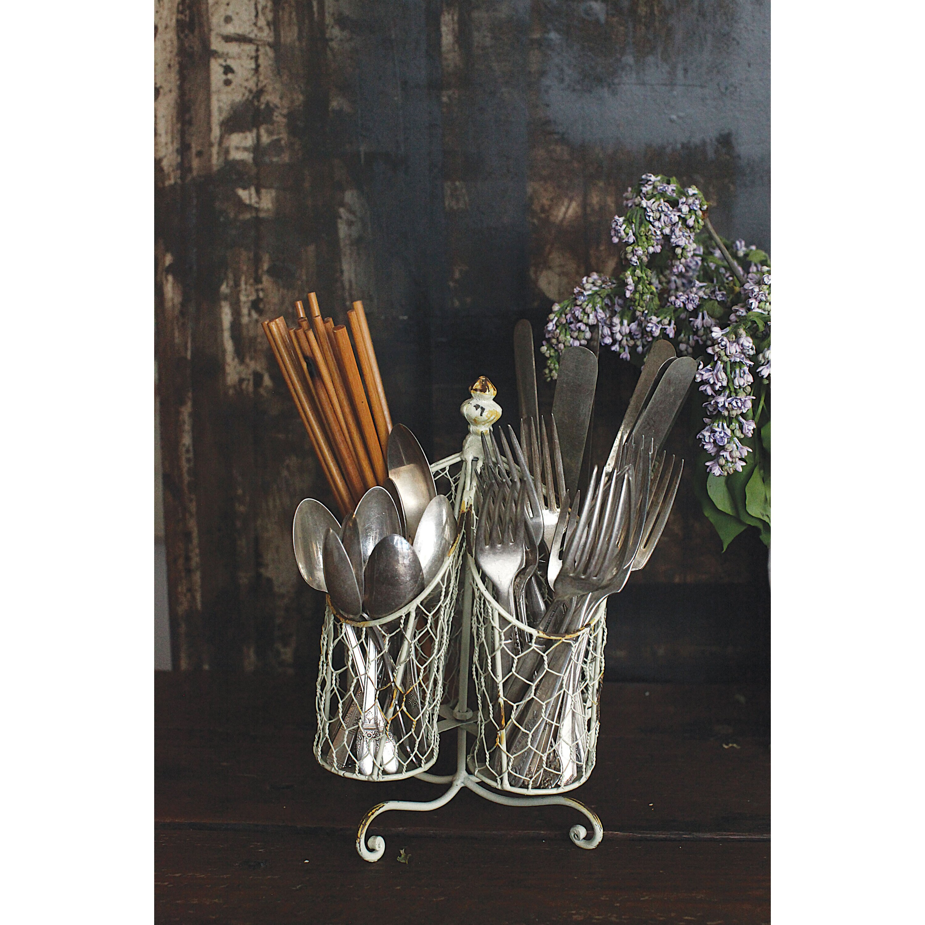 Creative co op gatherings wire utensil holder reviews for Creative silverware storage