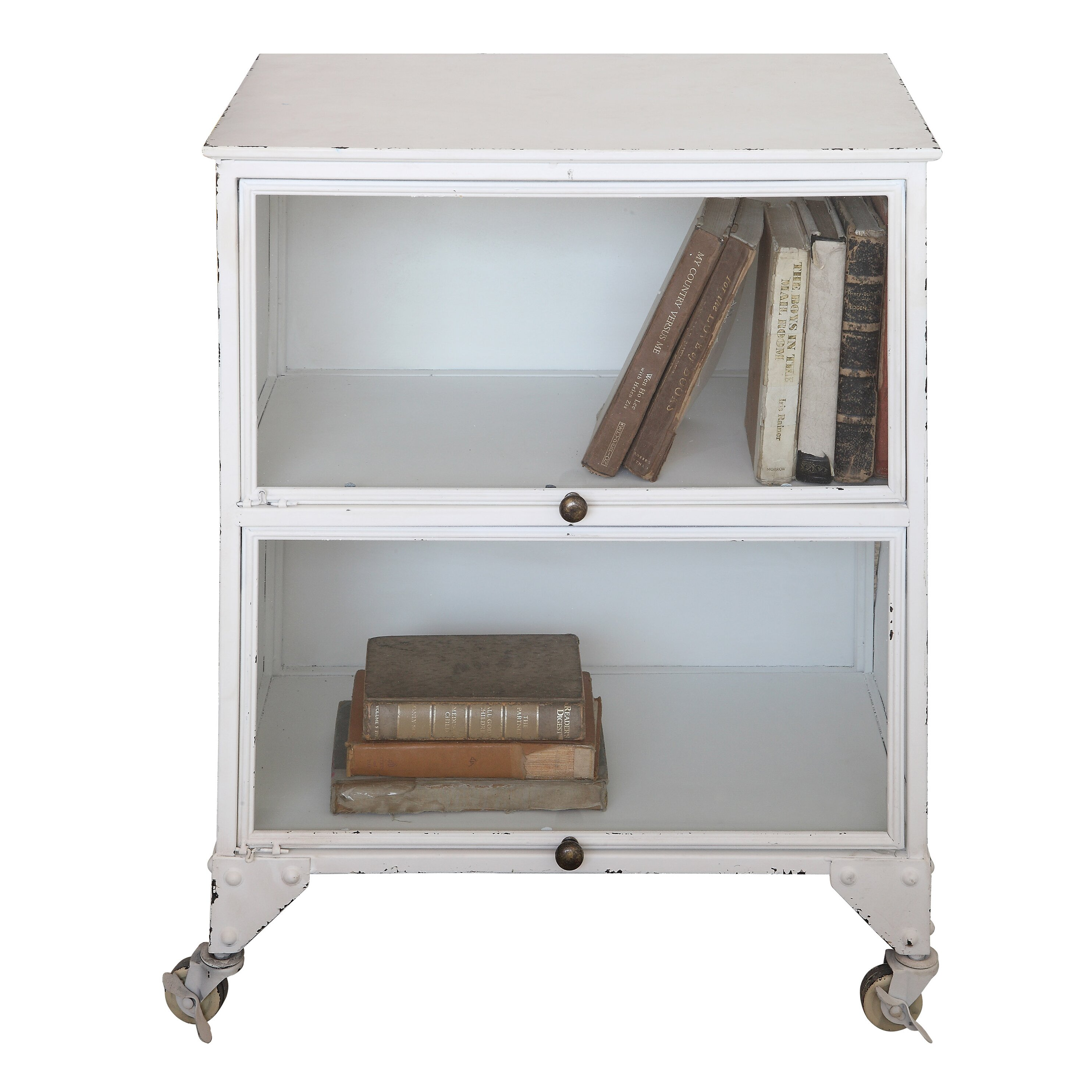 Creative co op farm 2 shelves and 2 door metal office for Creative cabinet doors