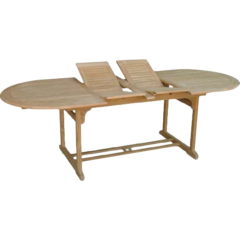hampton double extension oval teak dining table reviews wayfair uk