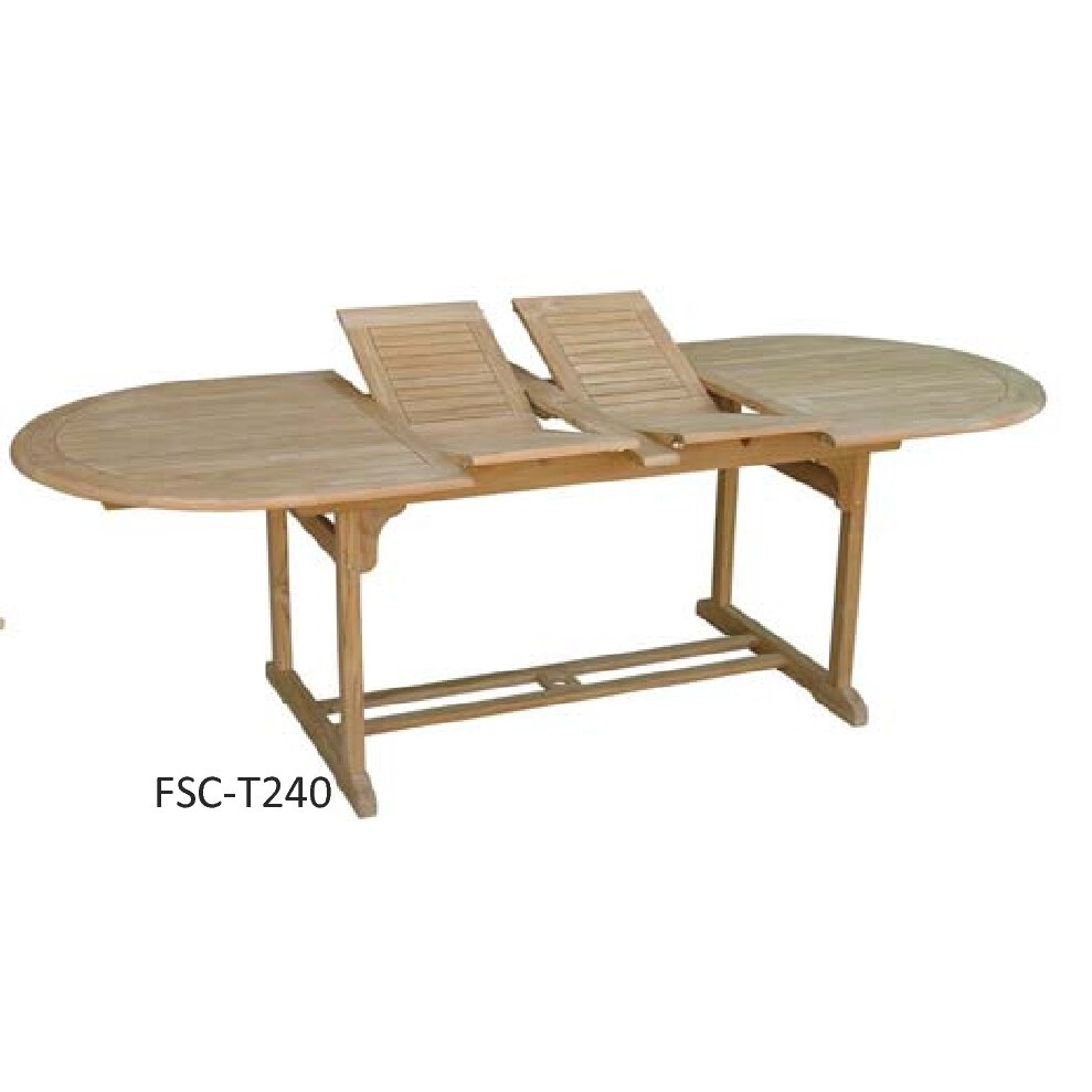 Royal craft hampton double extension oval teak dining for Royal dining table