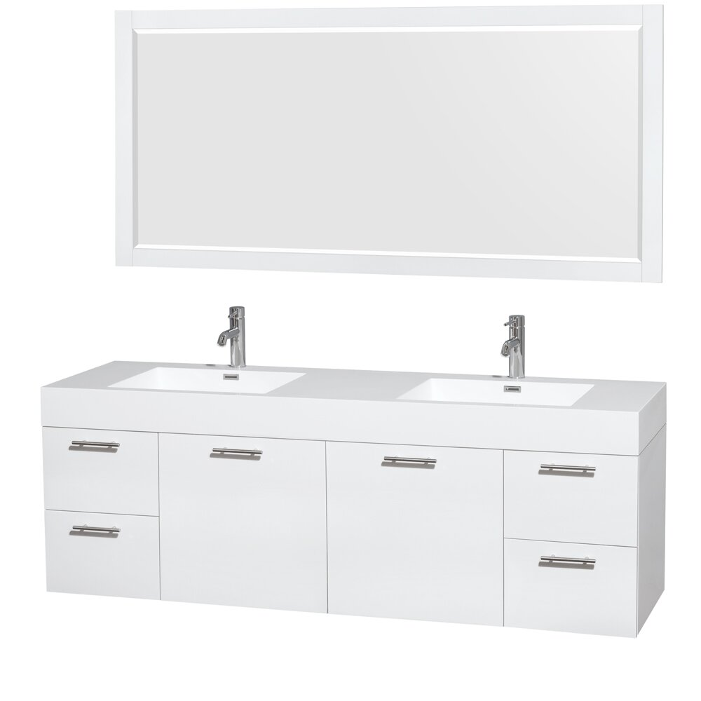 Wyndham Collection Amare 72 Double Bathroom Vanity Set With Mirror Reviews Wayfair