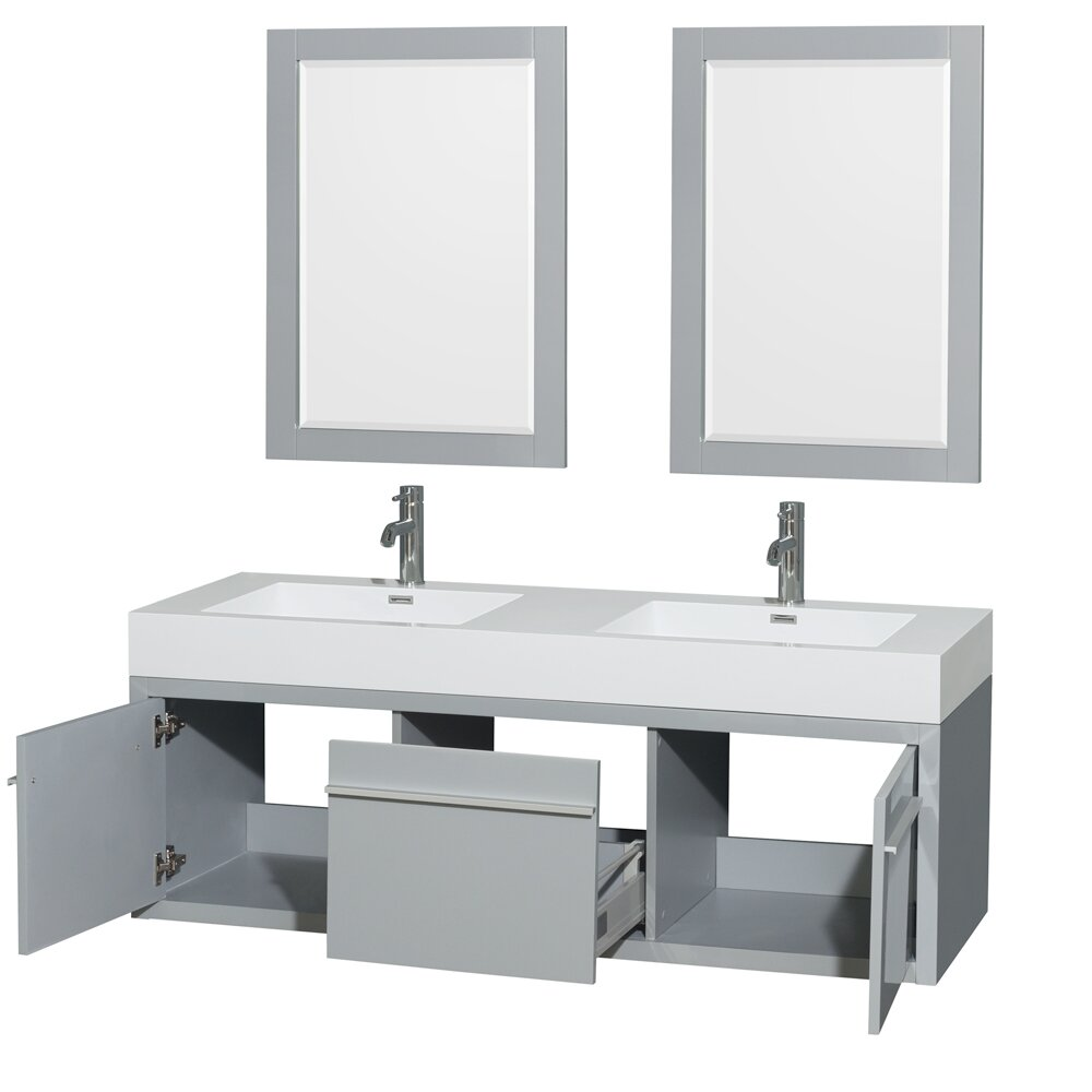 Wyndham collection axa 60 double bathroom vanity set with for Bathroom mirror set