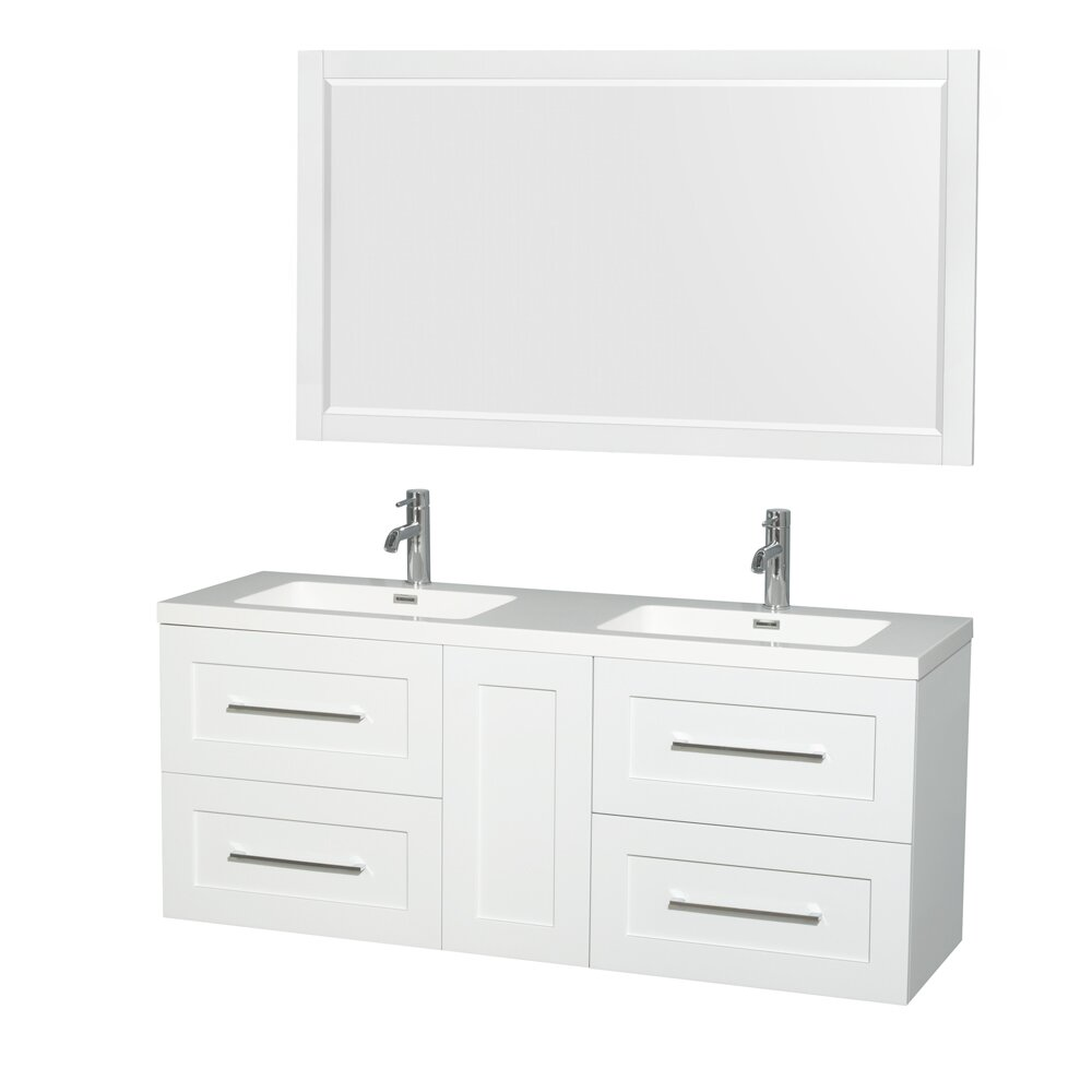 Wyndham Collection Olivia 60 Double Glossy White Bathroom Vanity Set With Mirror Wayfair