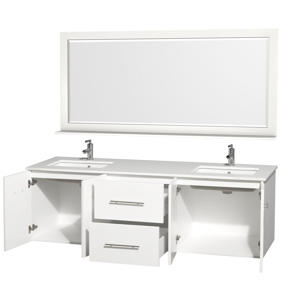 Wyndham Collection Centra 72 Double White Bathroom Vanity Set With Mirror Reviews Wayfair