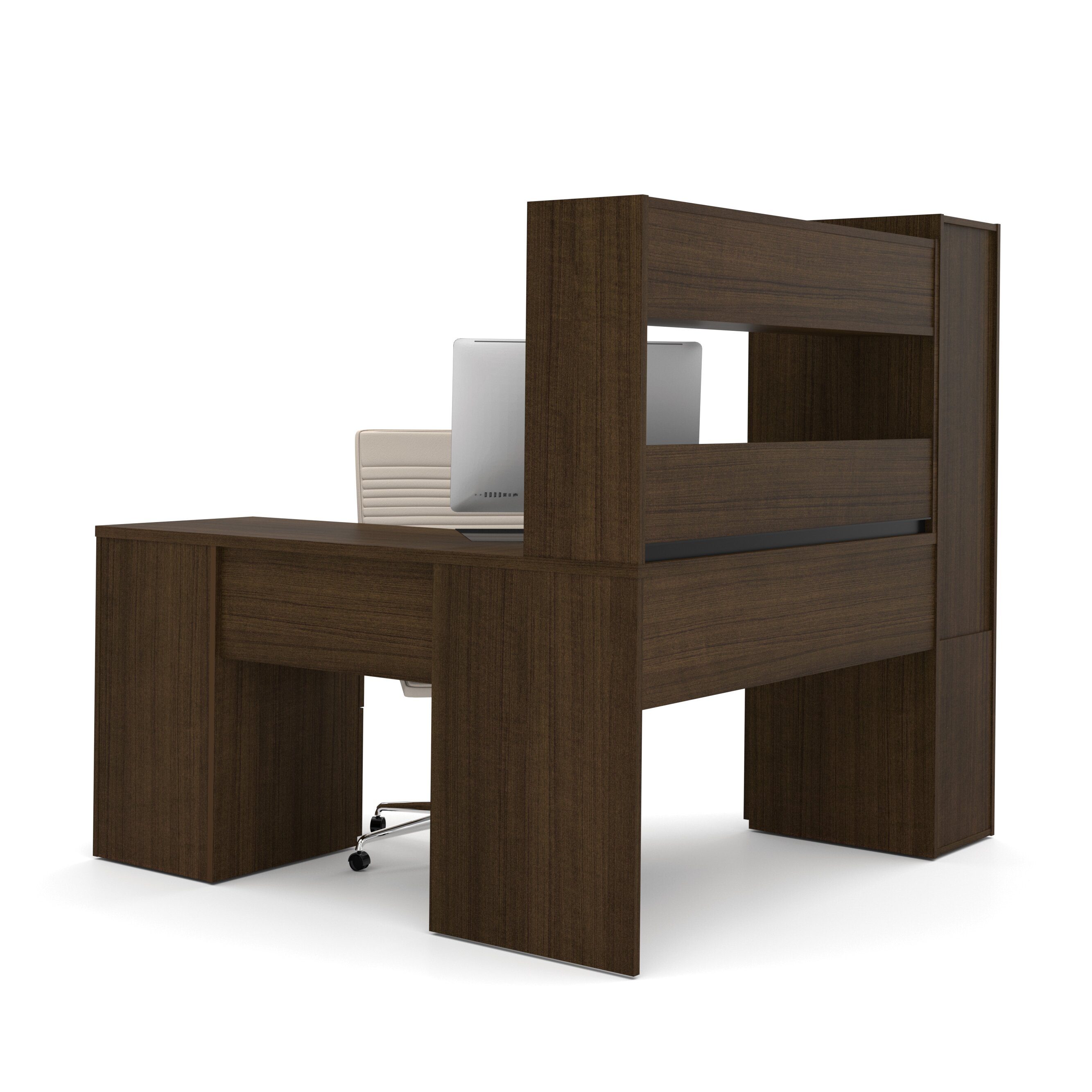bestar jazz corner computer desk with hutch cabinet reviews wayfair. Black Bedroom Furniture Sets. Home Design Ideas
