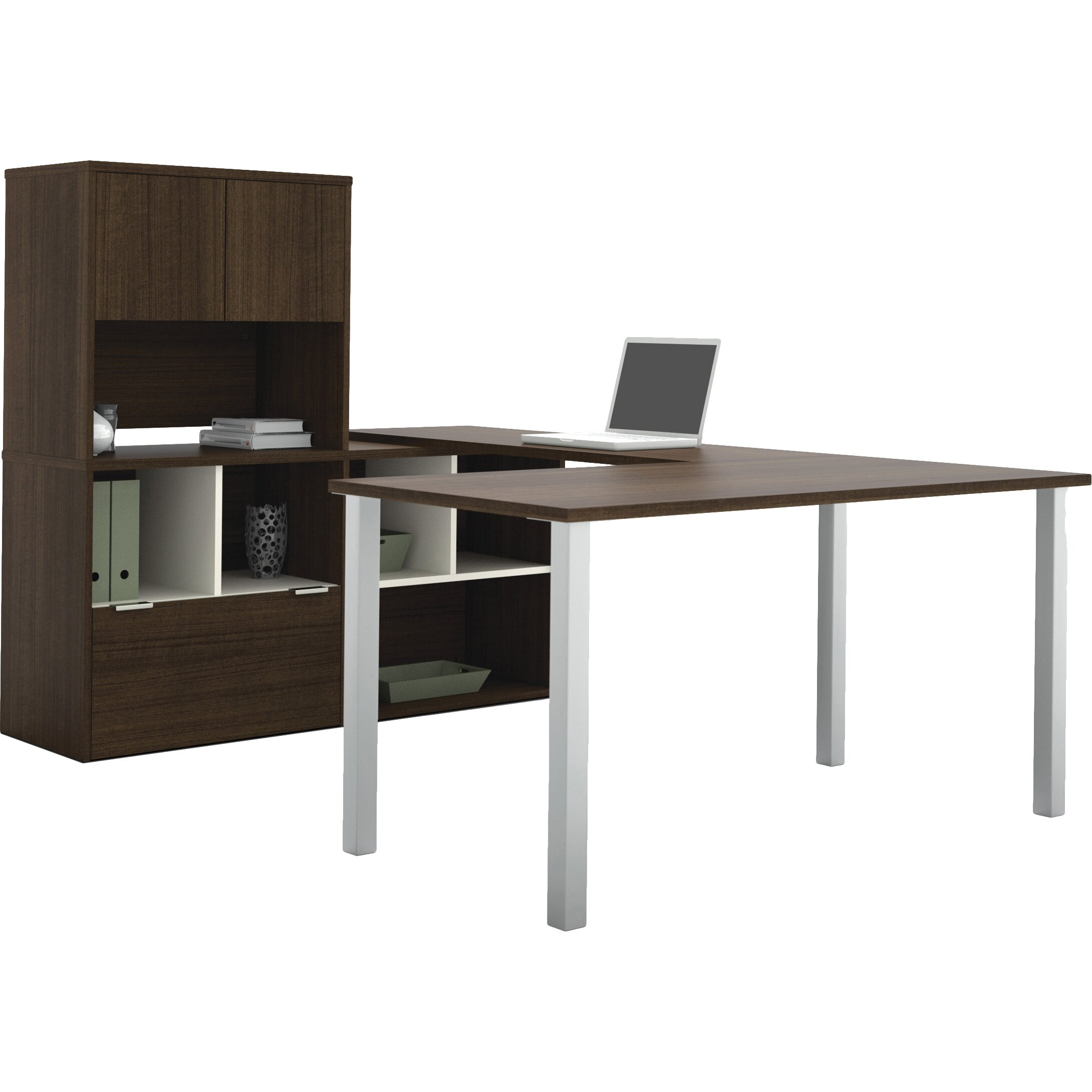 writing desk with storage This writing desk has ample space to organize your supplies and is ideal for small spaces it features a work surface with an open storage shelf underneath for additional suppliessolid composite wood is laminated in double-faced durable espresso-wengue finished melamine, which is stain, heat and scratch resistant.