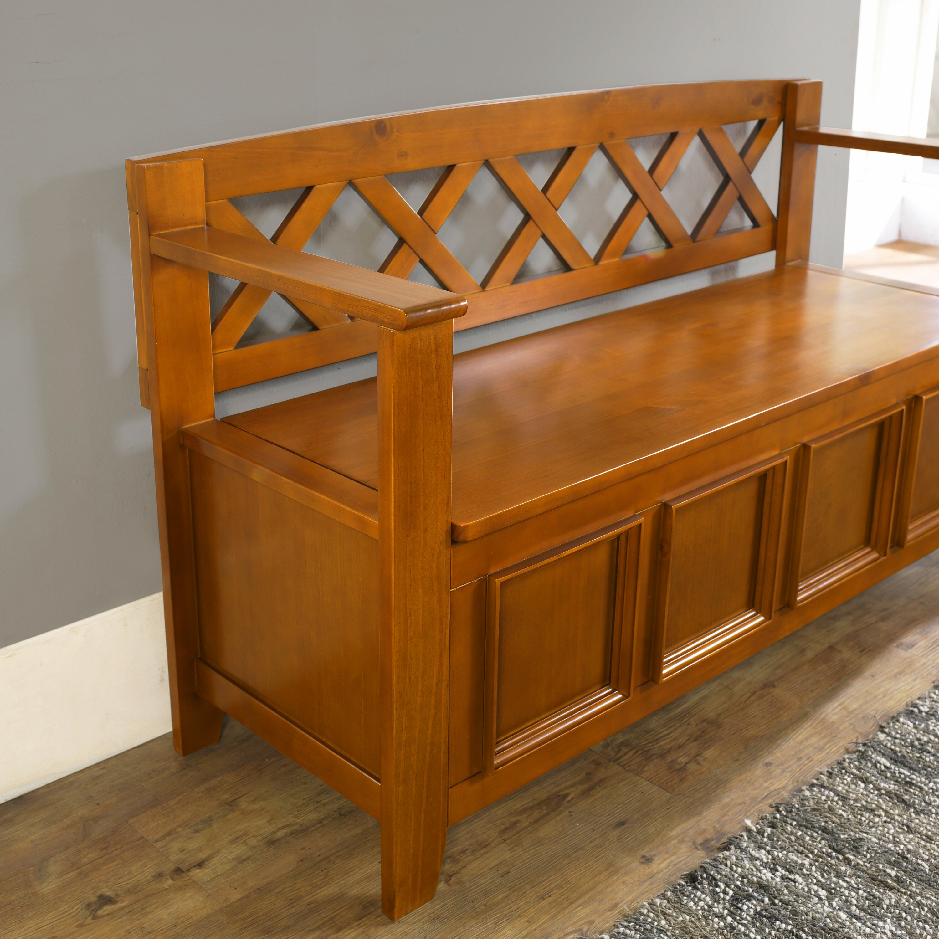 Foyer Bench Xl : Simpli home amherst wood storage entryway bench reviews