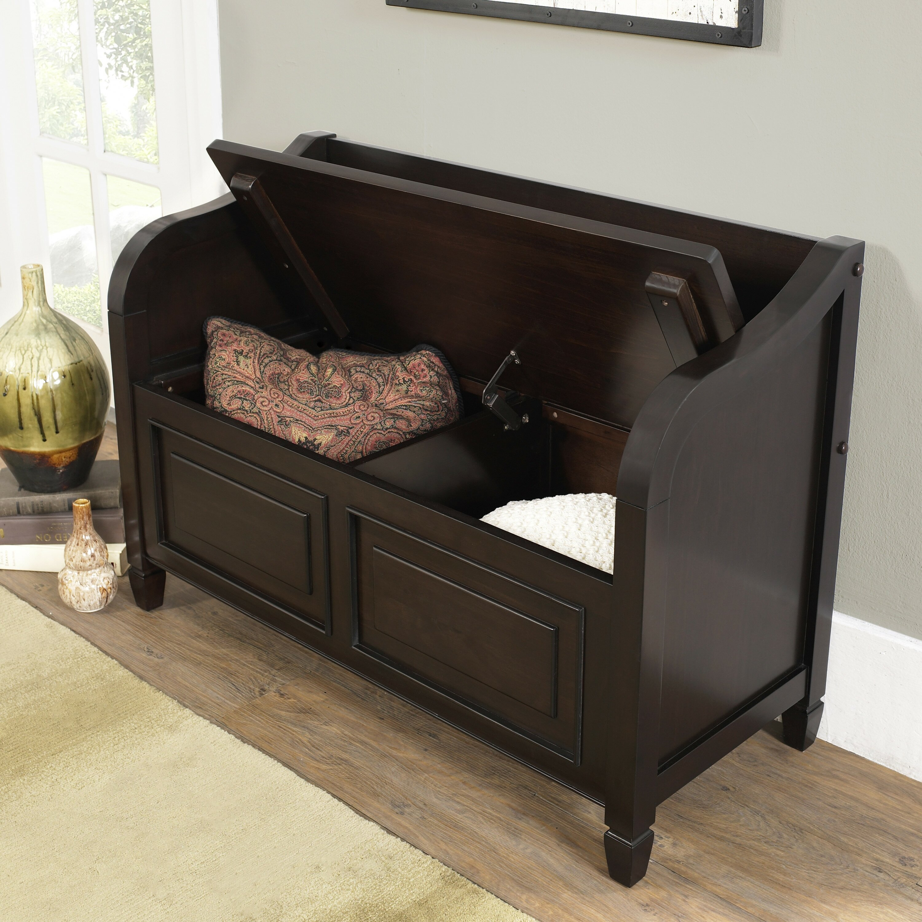 Simpli Home Connaught Wood Storage Entryway Bench Reviews Wayfair