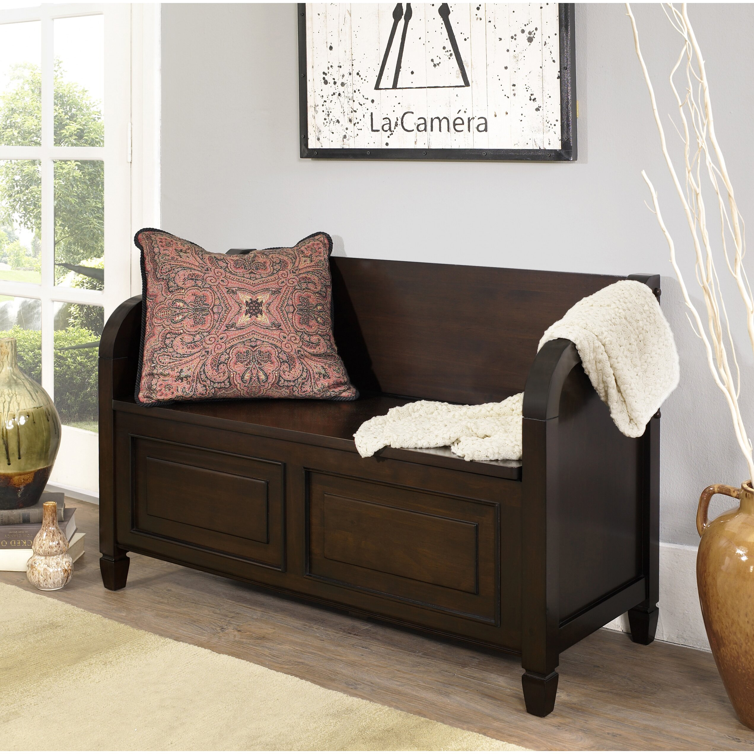 Simpli Home Connaught Wood Storage Entryway Bench