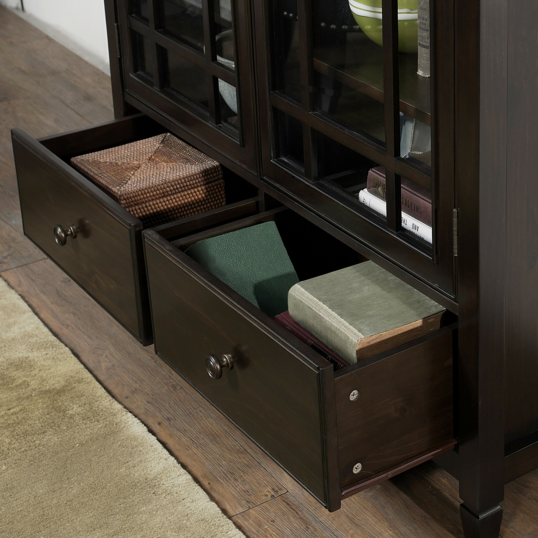 simpli home connaught 2 door tall storage cabinet reviews wayfair. Black Bedroom Furniture Sets. Home Design Ideas