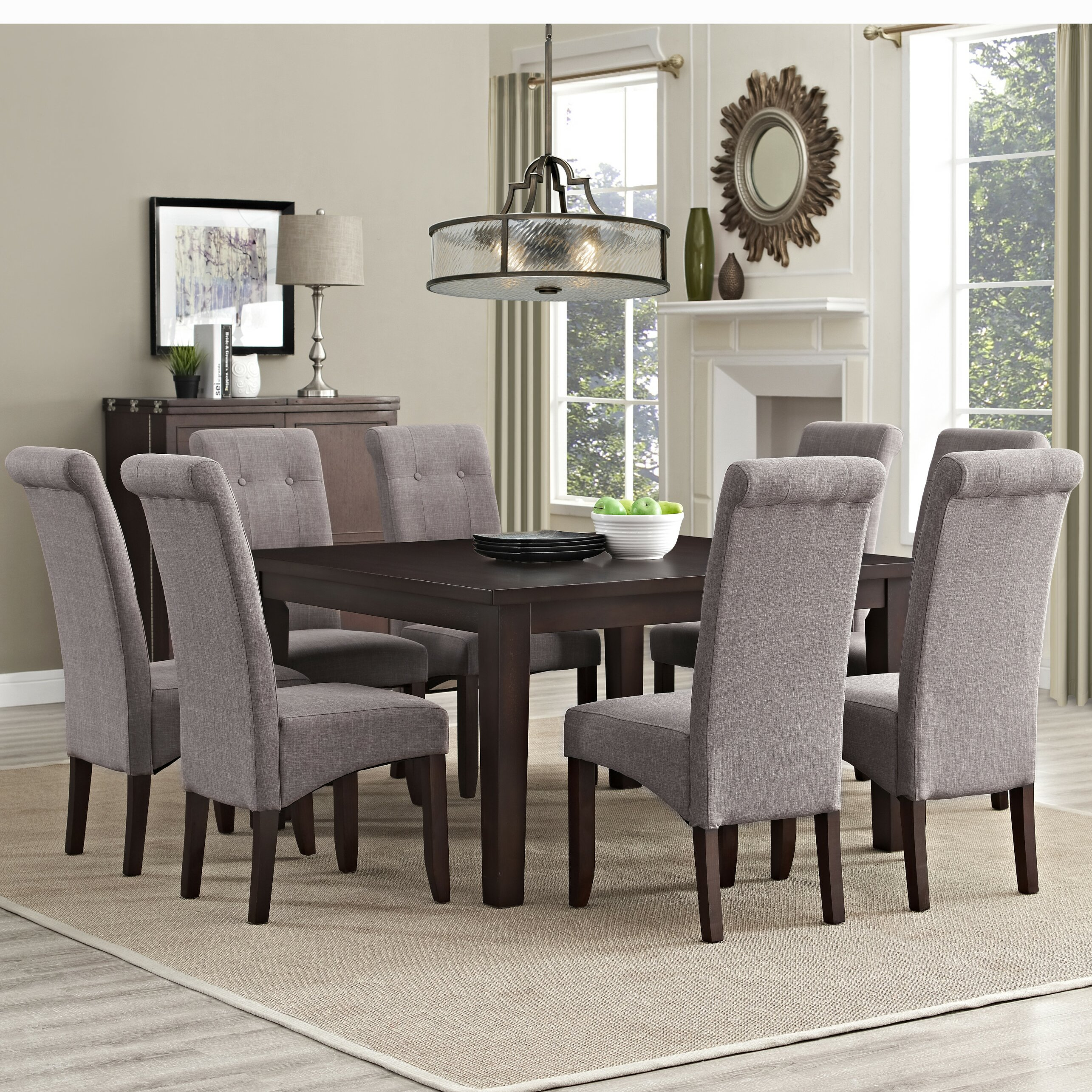 Simpli home eastwood 9 piece dining set reviews wayfair for Dining room chair set
