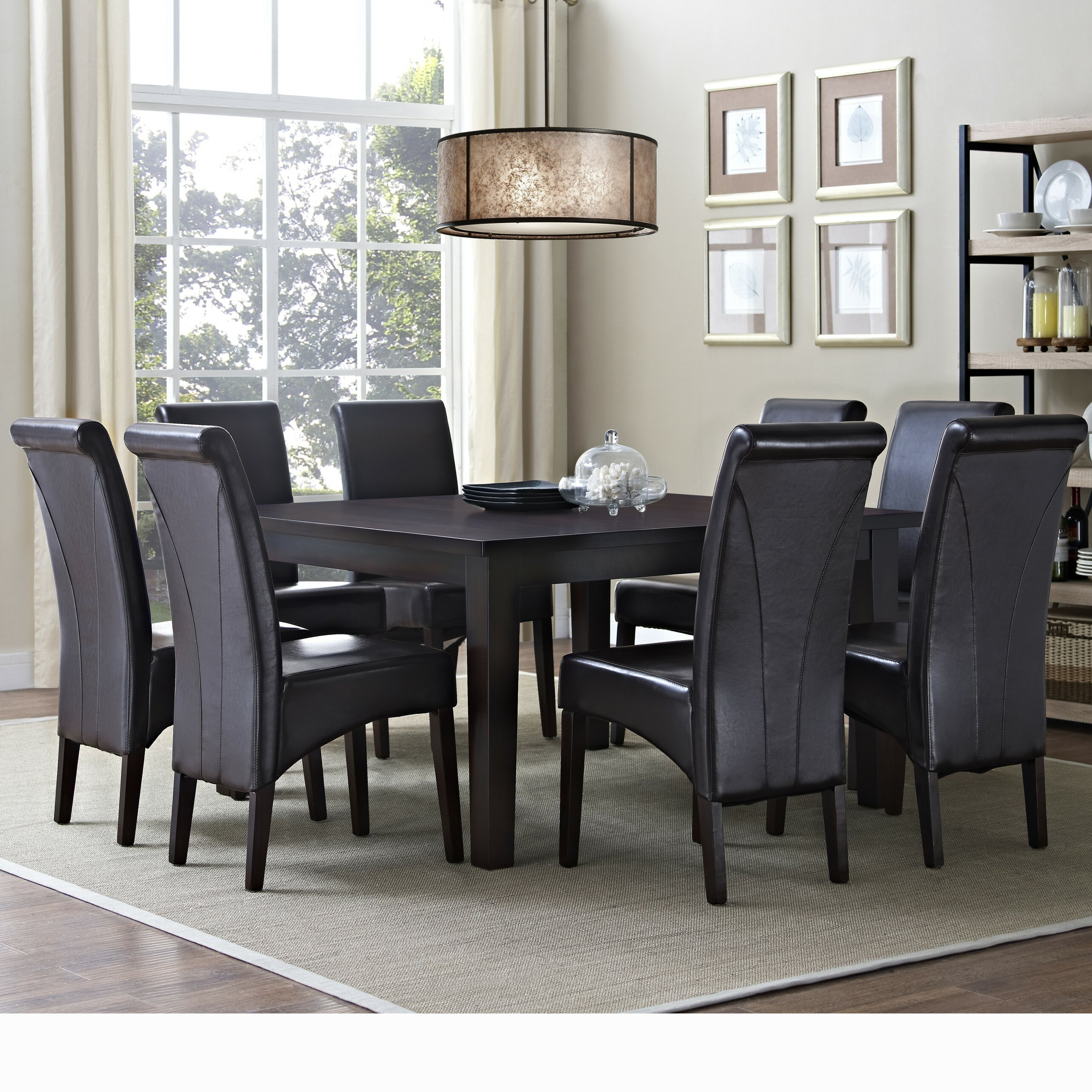simpli home avalon 9 piece dining set wayfair. Black Bedroom Furniture Sets. Home Design Ideas