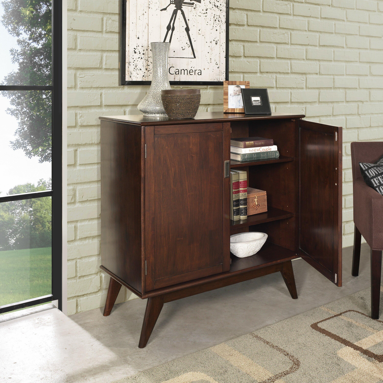 Home Depot Cabinets Review: Simpli Home Draper Mid Century Medium Storage Cabinet