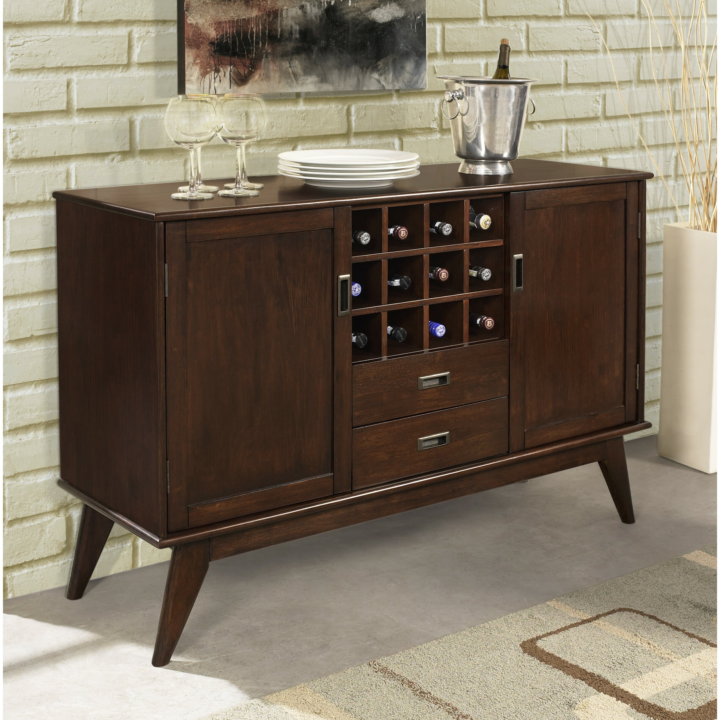 simpli home draper mid century sideboard buffet and wine rack reviews. Black Bedroom Furniture Sets. Home Design Ideas