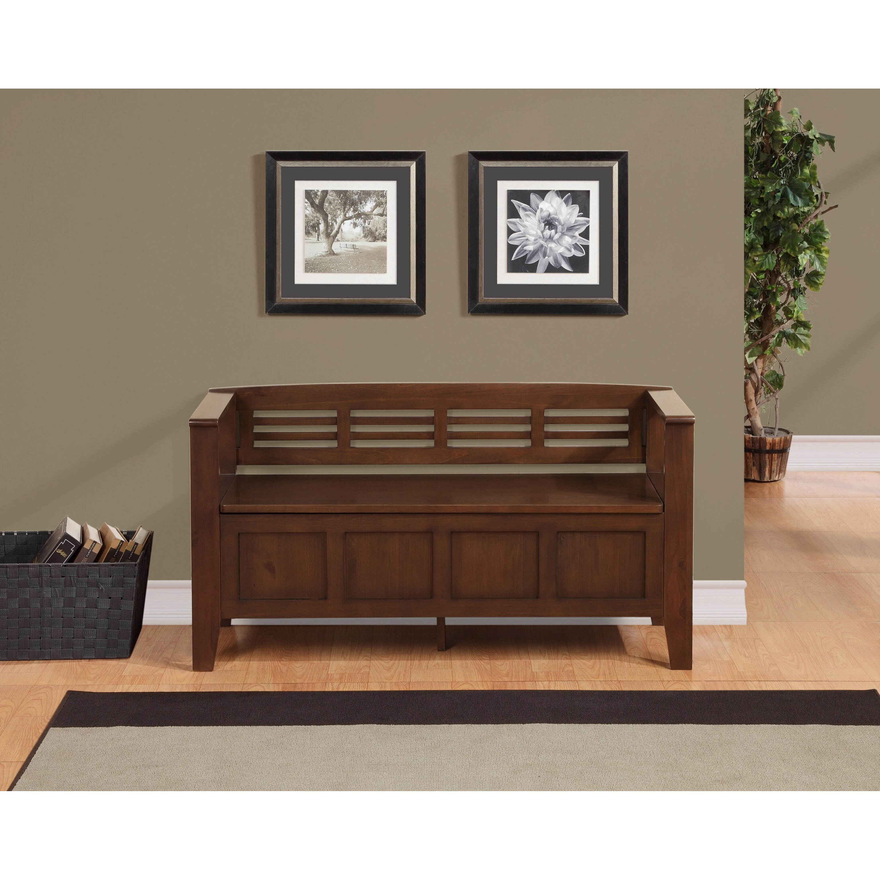 Simpli Home Adams Wood Storage Entryway Bench Reviews Wayfair Supply