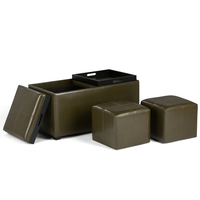 Simpli home avalon 5 piece rectangular storage ottoman set for Storage ottoman set