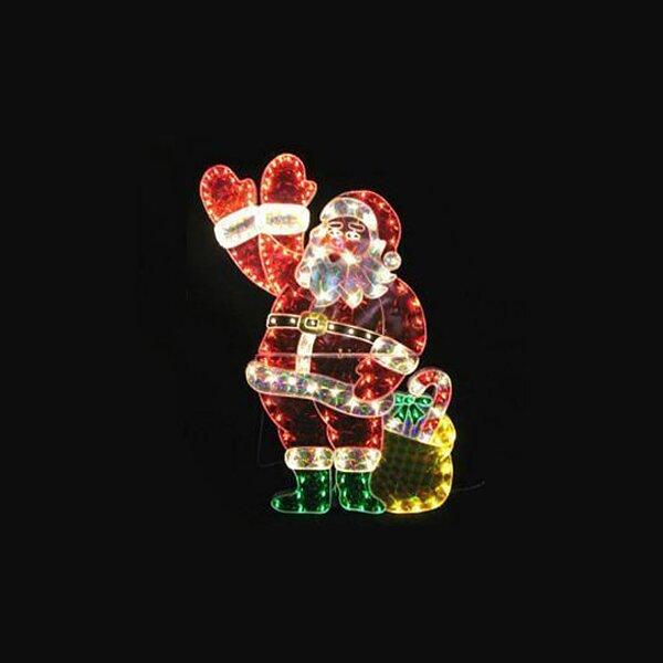 Lb International 48 Quot Holographic Lighted Waving Santa