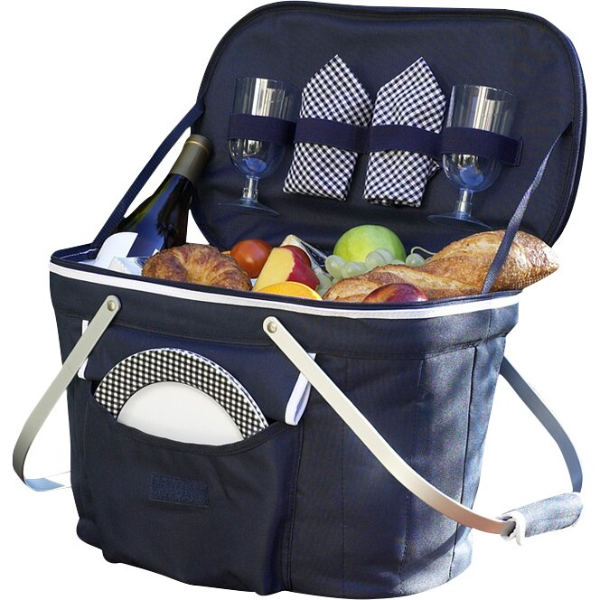 Picnic At Ascot Collapsible Insulated Picnic Basket For 4 : Picnic at ascot collapsible insulated basket with