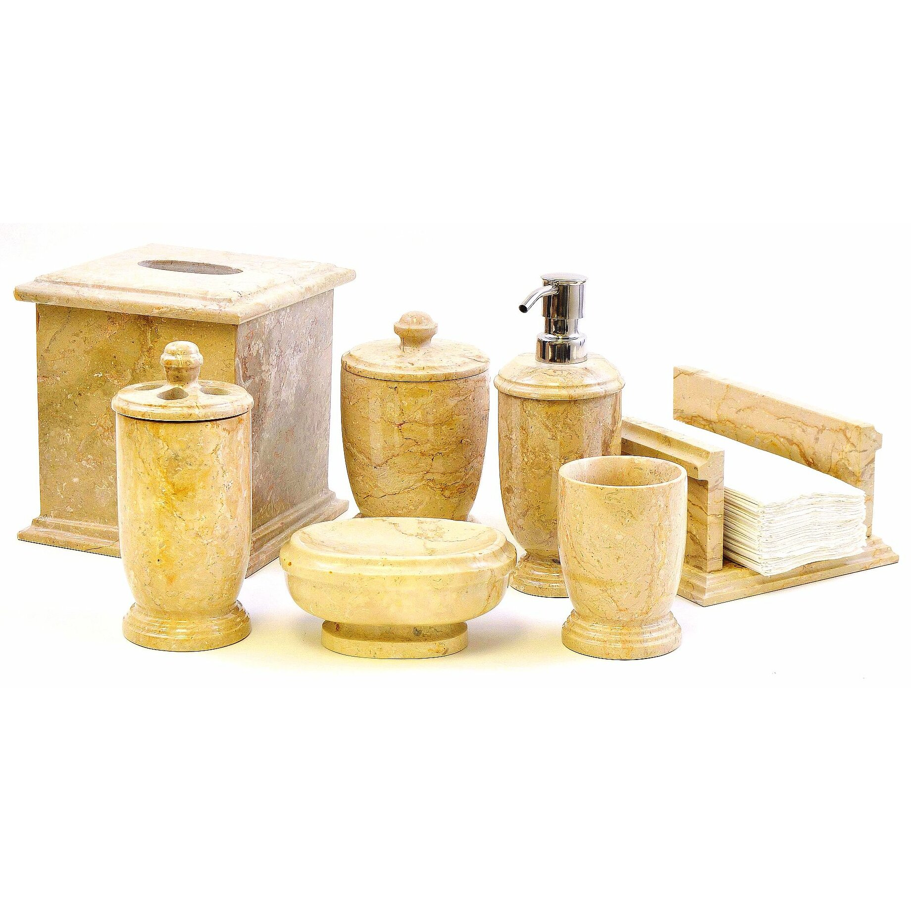 Nature home decor atlantic sahara 7 piece bathroom for Bathroom accessories for home