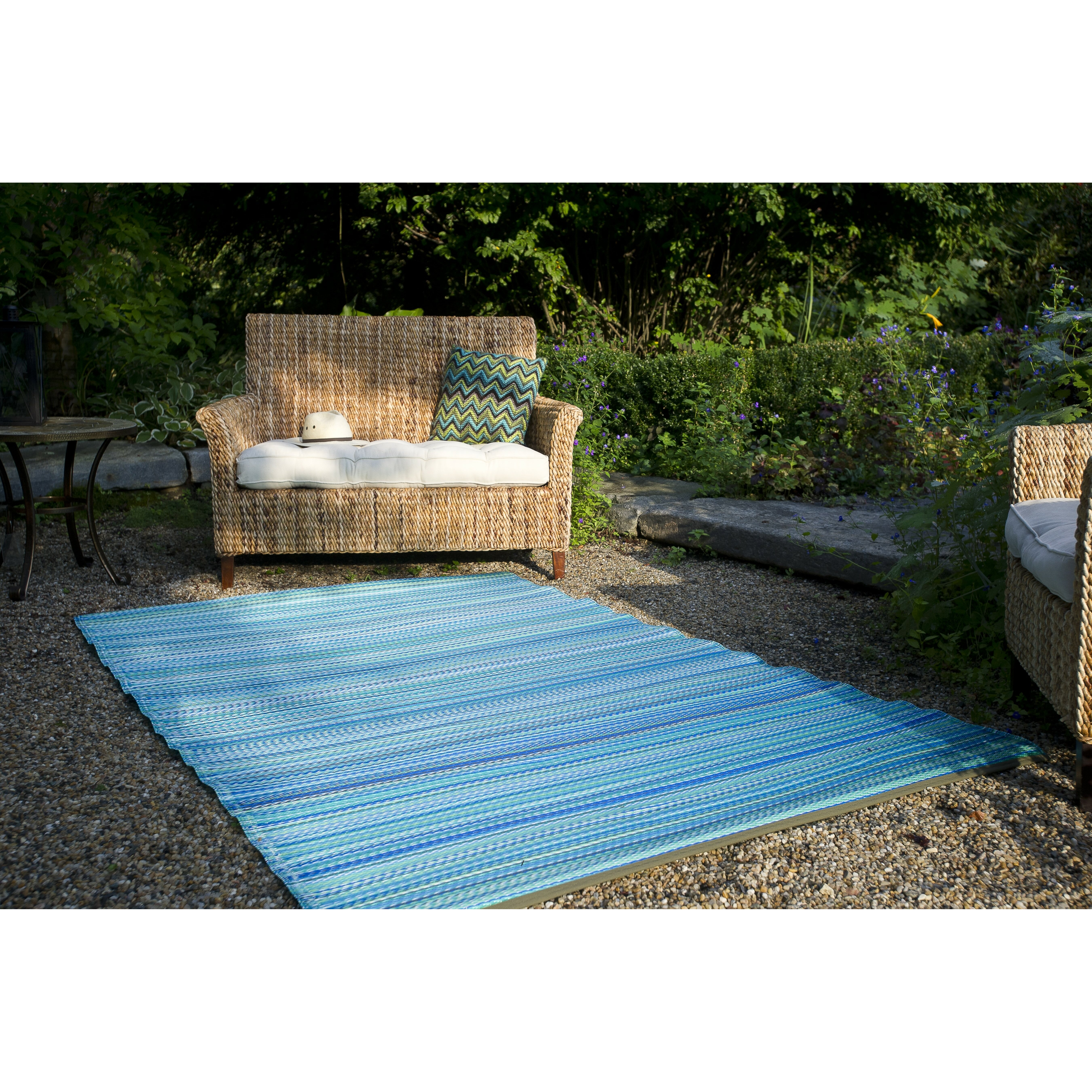 Trina Indoor Outdoor Rug Brown Turquoise: Fab Rugs World Turquoise/Moss Green Cancun Stripe Indoor