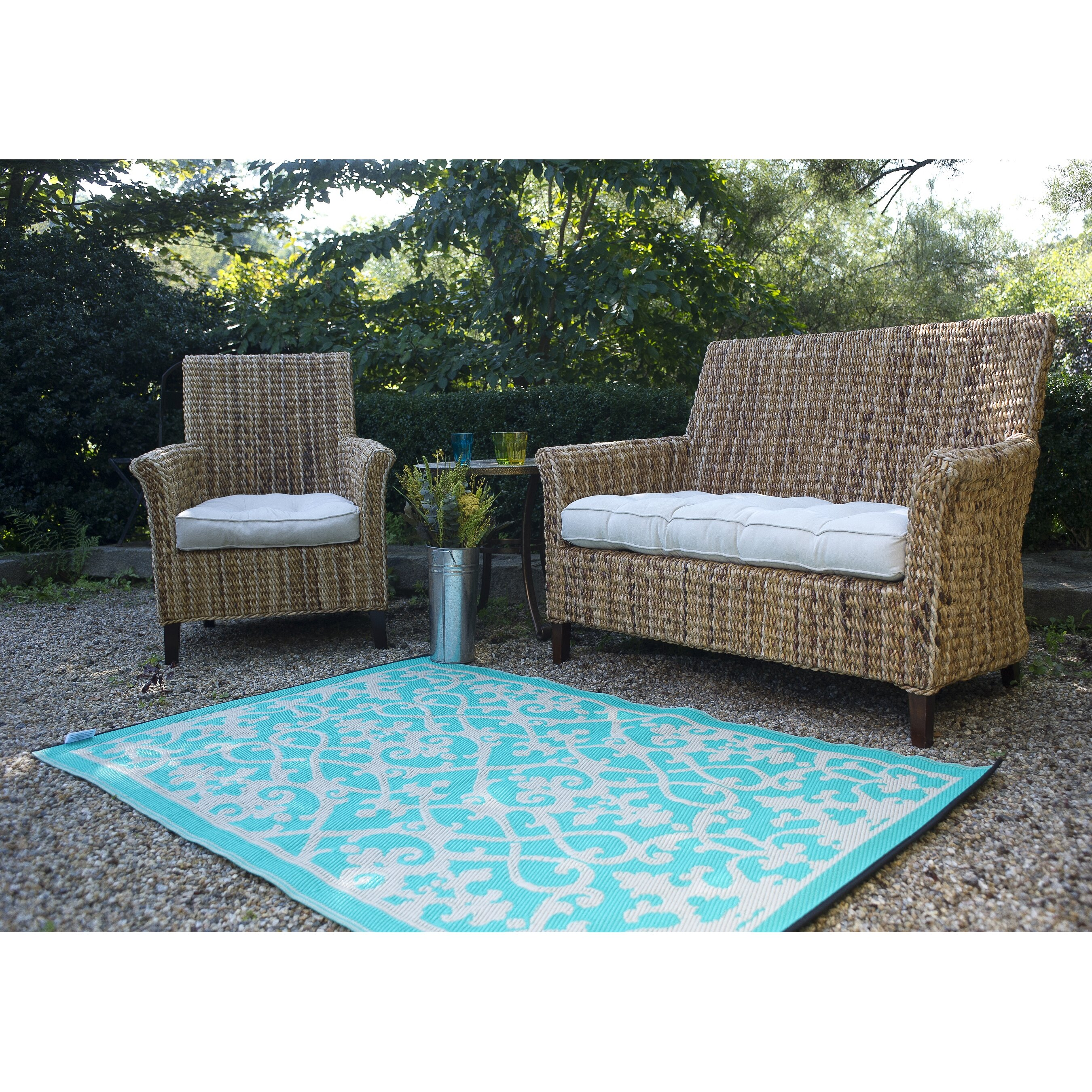 Fab Habitat World Venice Cream & Turquoise Indoor Outdoor