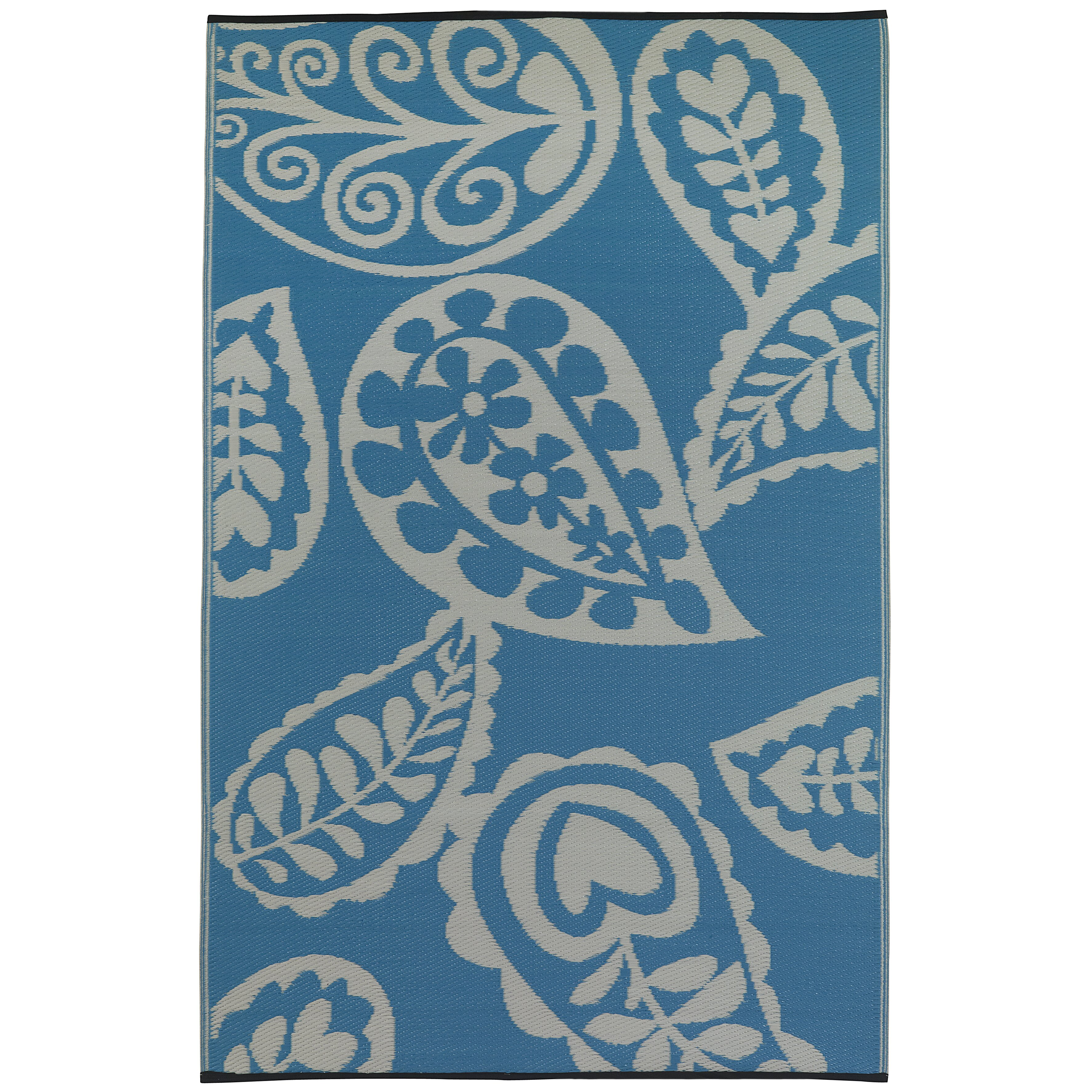 Paisley Area Rugs: Fab Rugs Paisley River World Blue & White Indoor/Outdoor