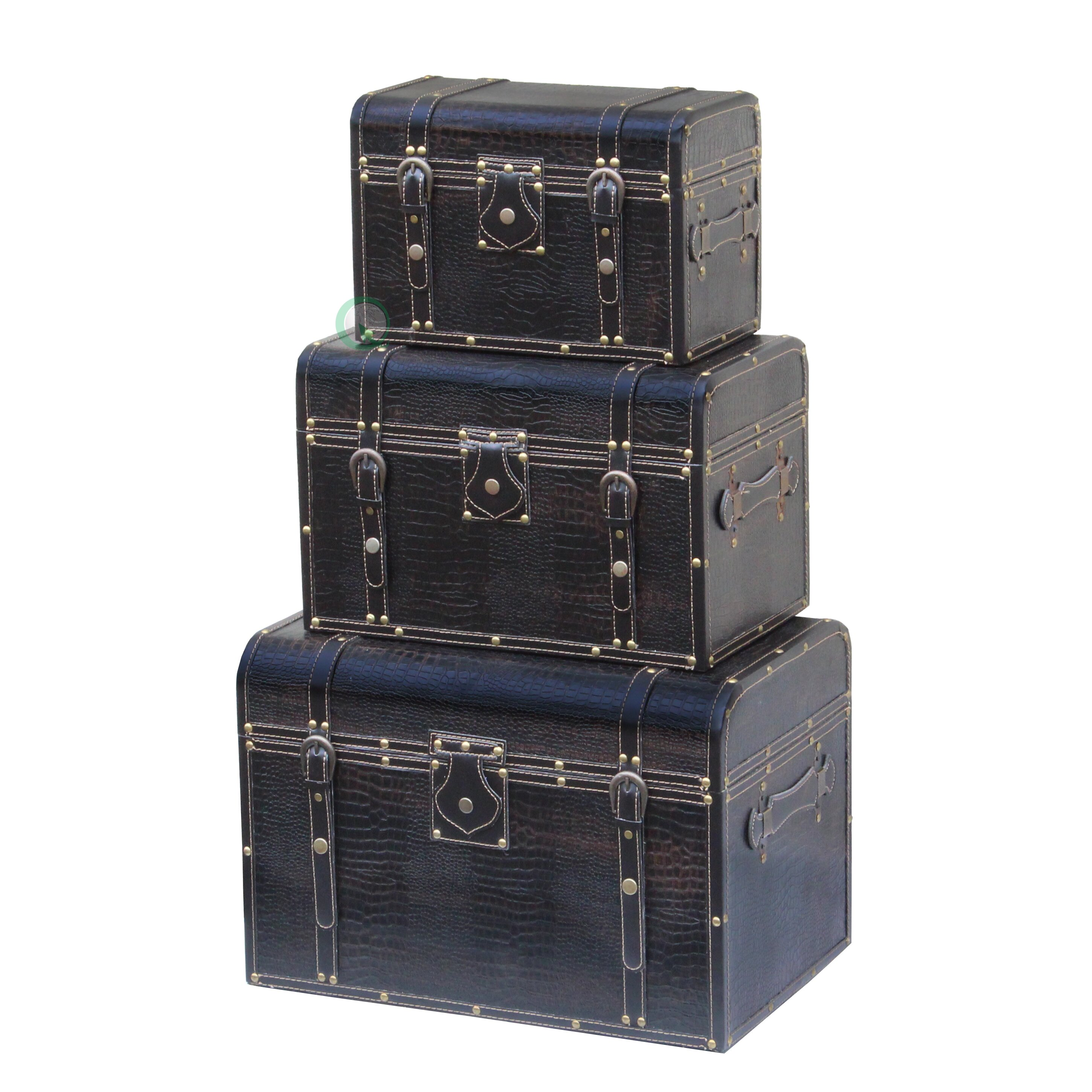 Wood And Leather Trunk Piece Set