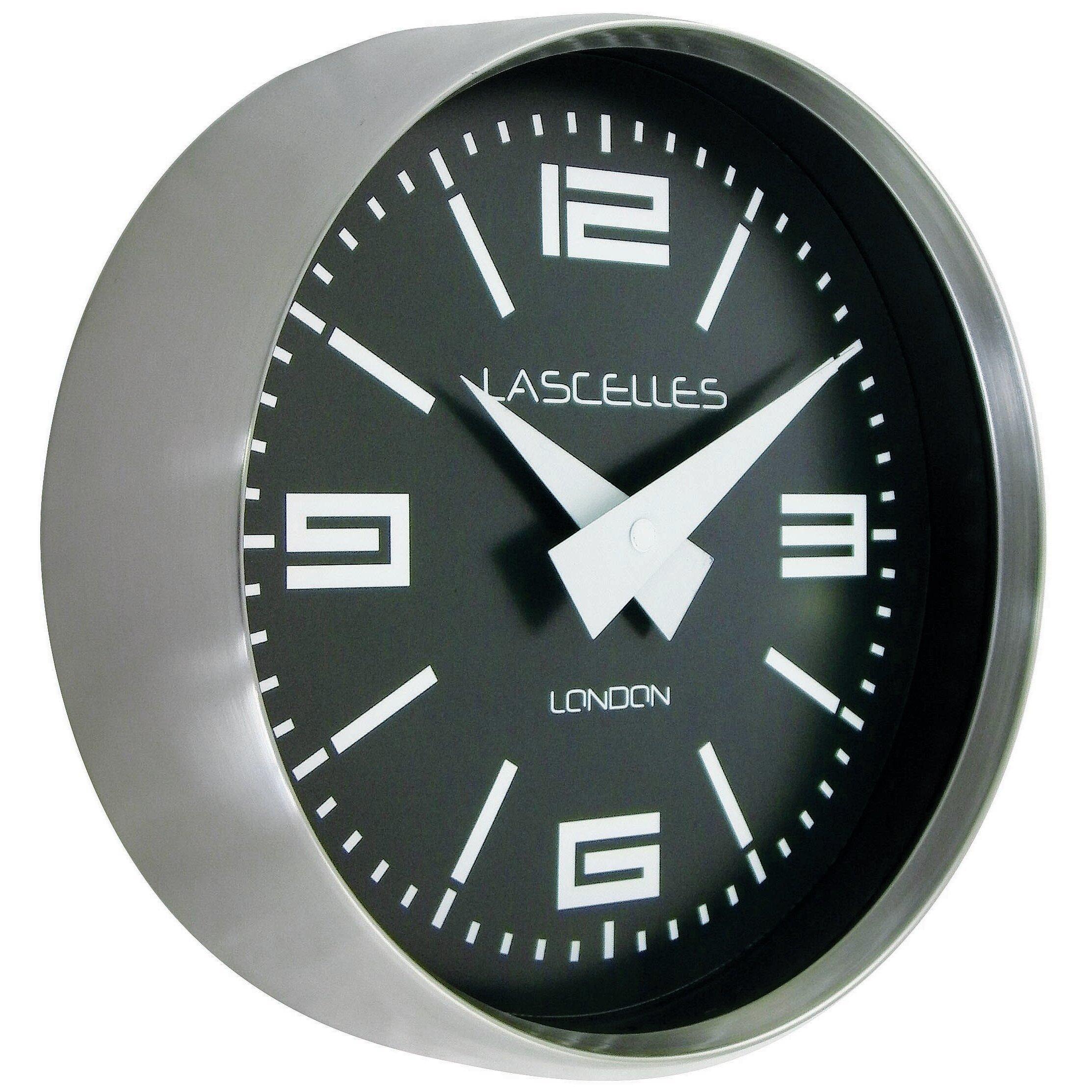 Roger Lascelles Clocks 23cm Brushed Chroke Cased Circular ...