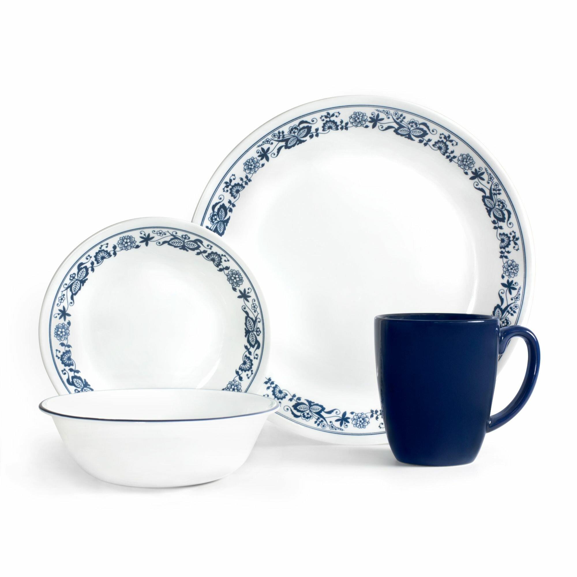 Corelle Livingware Old Town Blue 16 Piece Dinnerware Set Reviews Wayfair