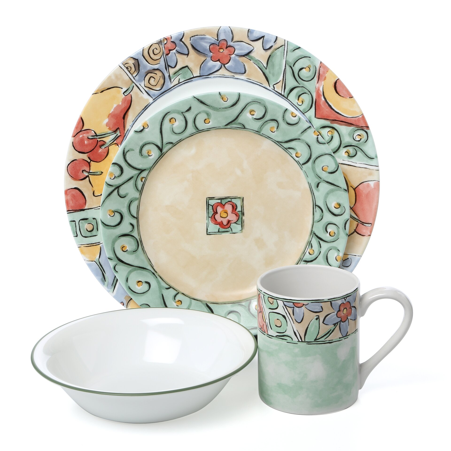 Corelle Impressions Watercolors 16 Piece Dinnerware Set