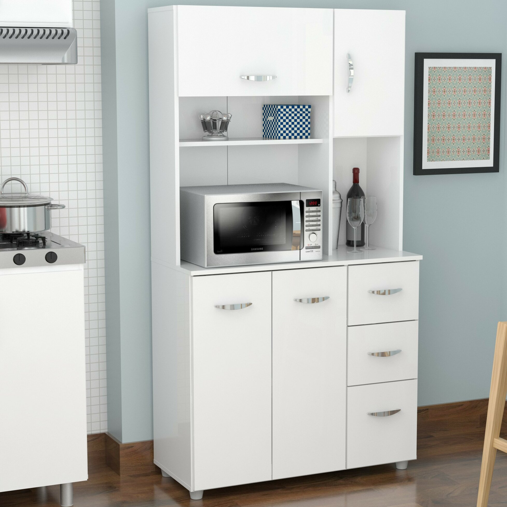 Inval kitchen pantry reviews wayfair - Bathroom pantry cabinets ...
