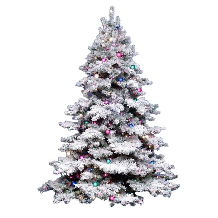 vickerman flocked alaskan 7 5 39 white artificial christmas tree with 900 multicolored lights with. Black Bedroom Furniture Sets. Home Design Ideas