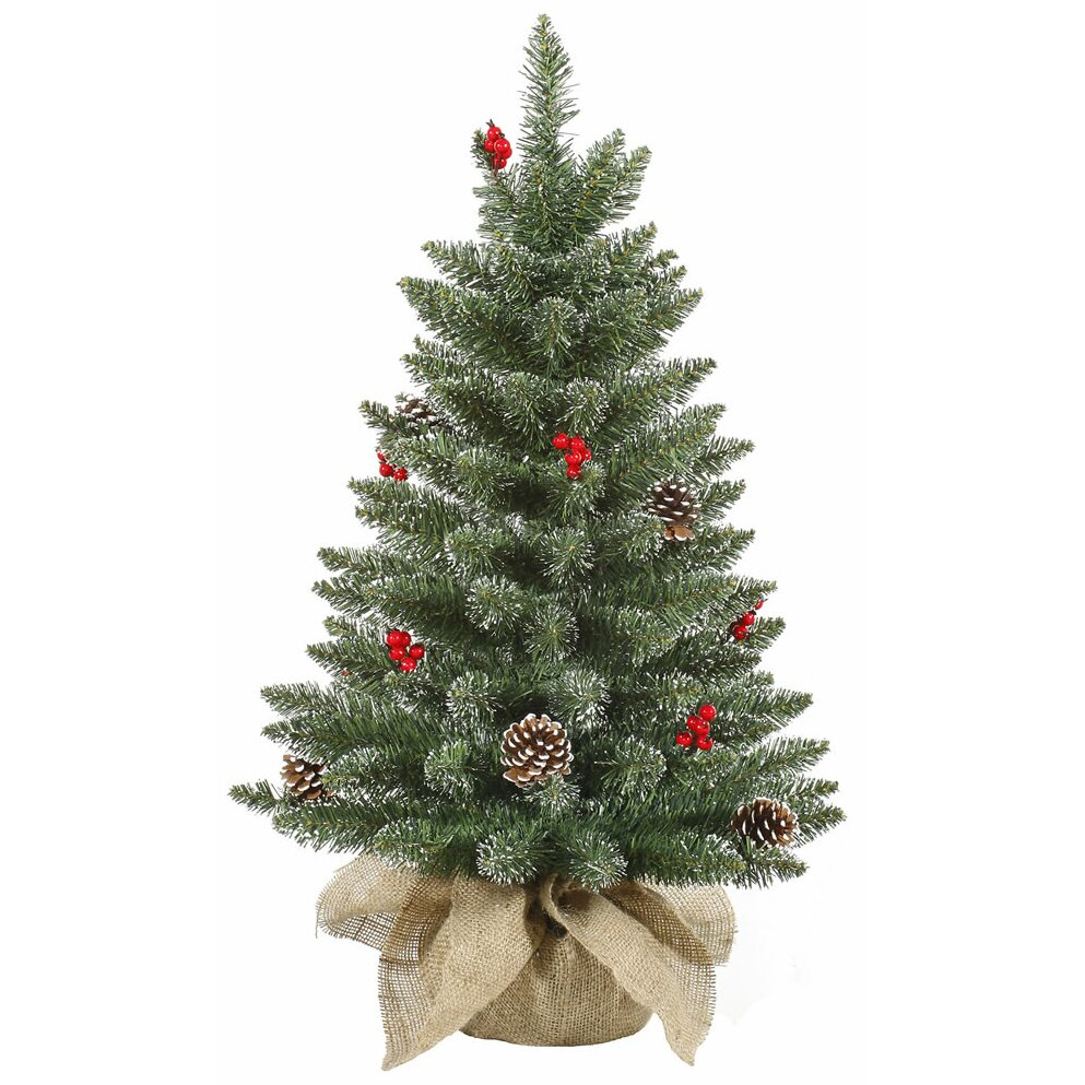 Artificial Christmas Tree With Pine Cones: Vickerman 3.5' Frost Pine Cone Berry Artificial Christmas