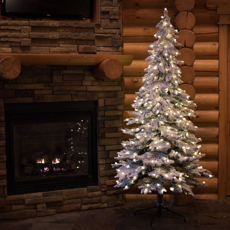 Flocked Christmas Tree: Vickerman Flocked Spruce Alpine 6' White Artificial