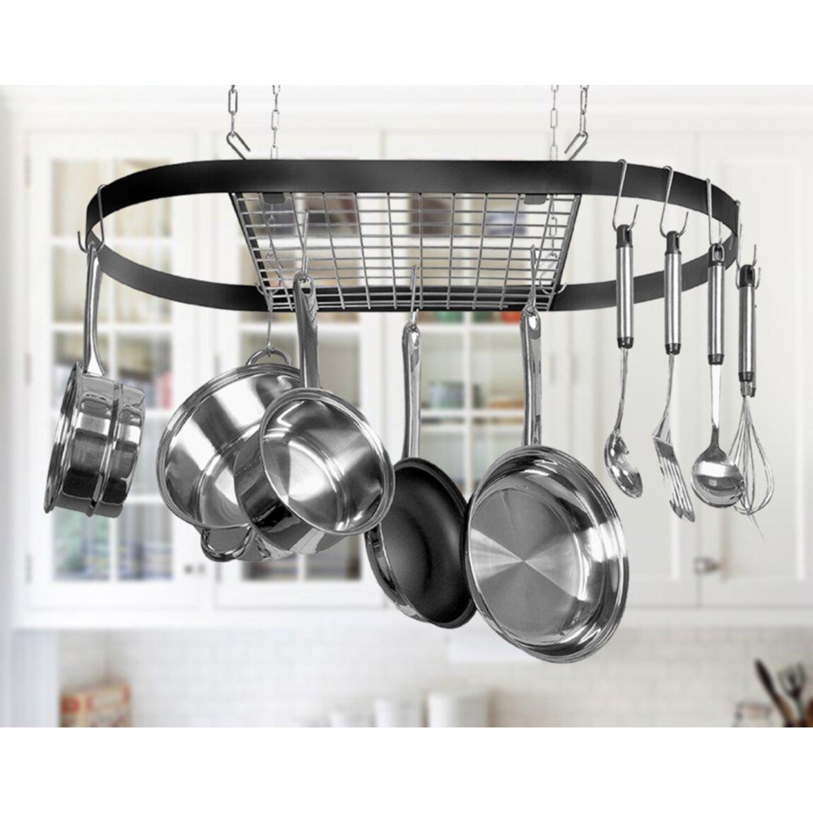 Pot Rack: Kinetic Classicor Wrought-Iron Hanging Oval Pot Rack