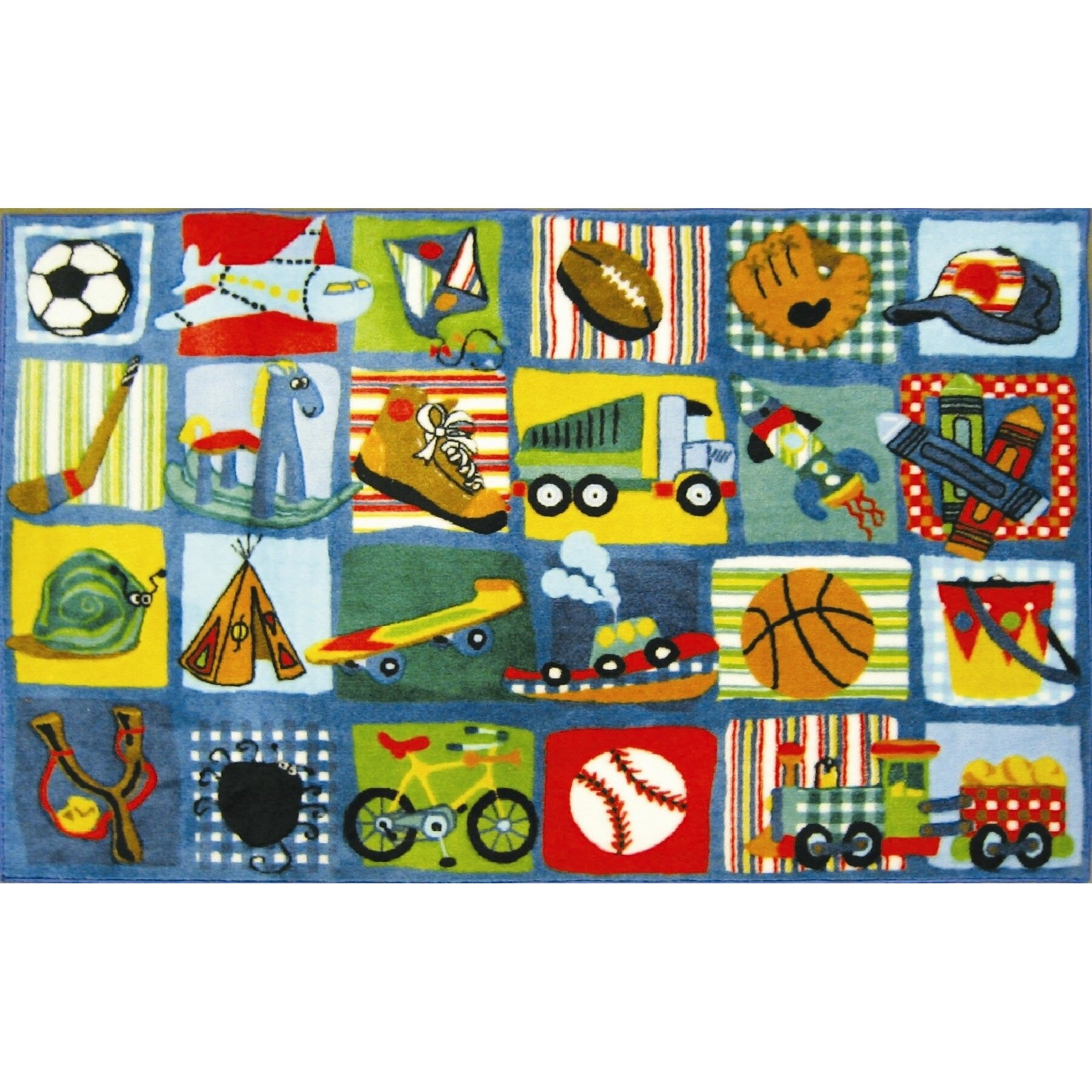 Boys Funky Room: Fun Rugs Supreme Funky Patchwork Boys Area Rug & Reviews