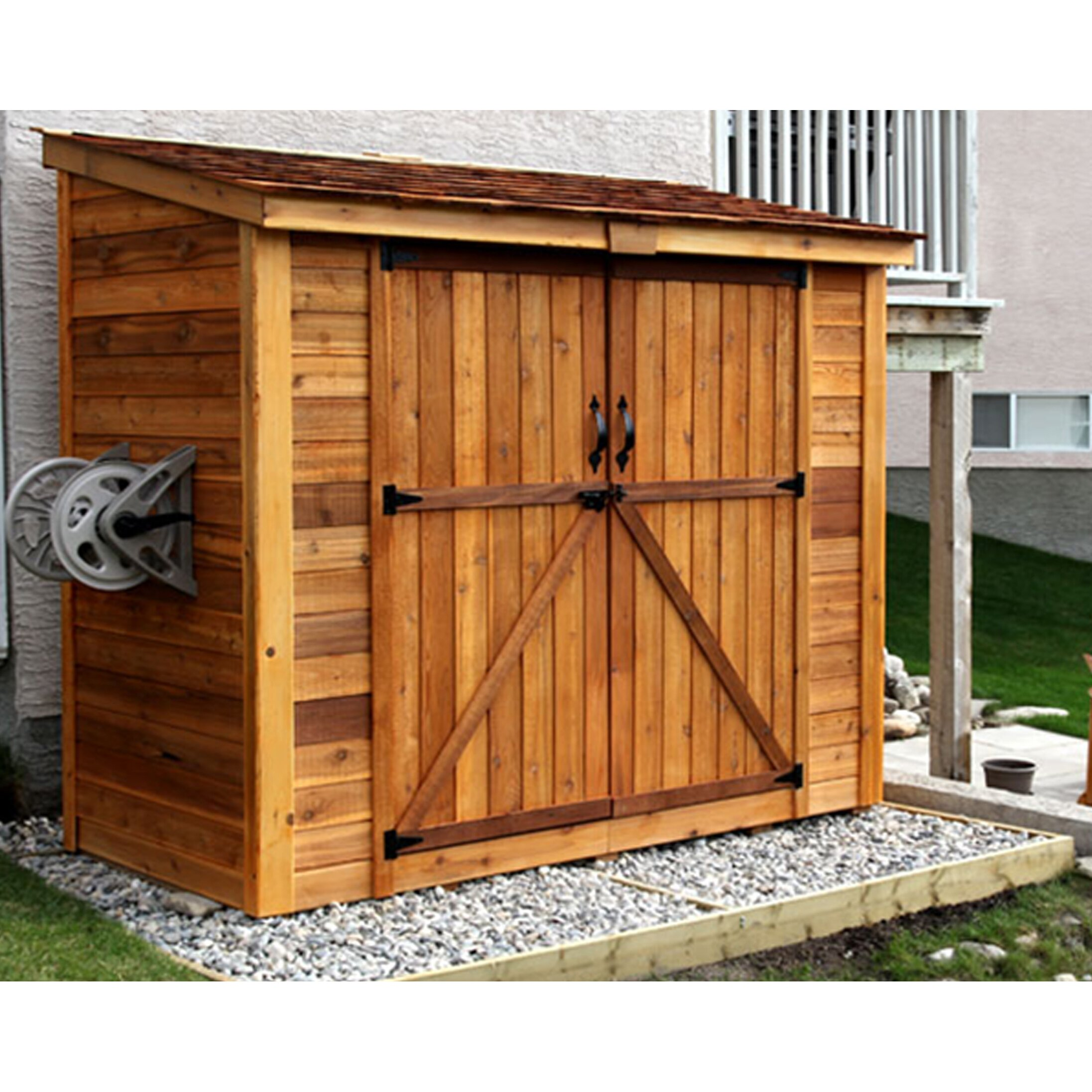 Outdoor living today spacesaver 8 ft w x 4 ft d garden for Garden shed 5 x 4