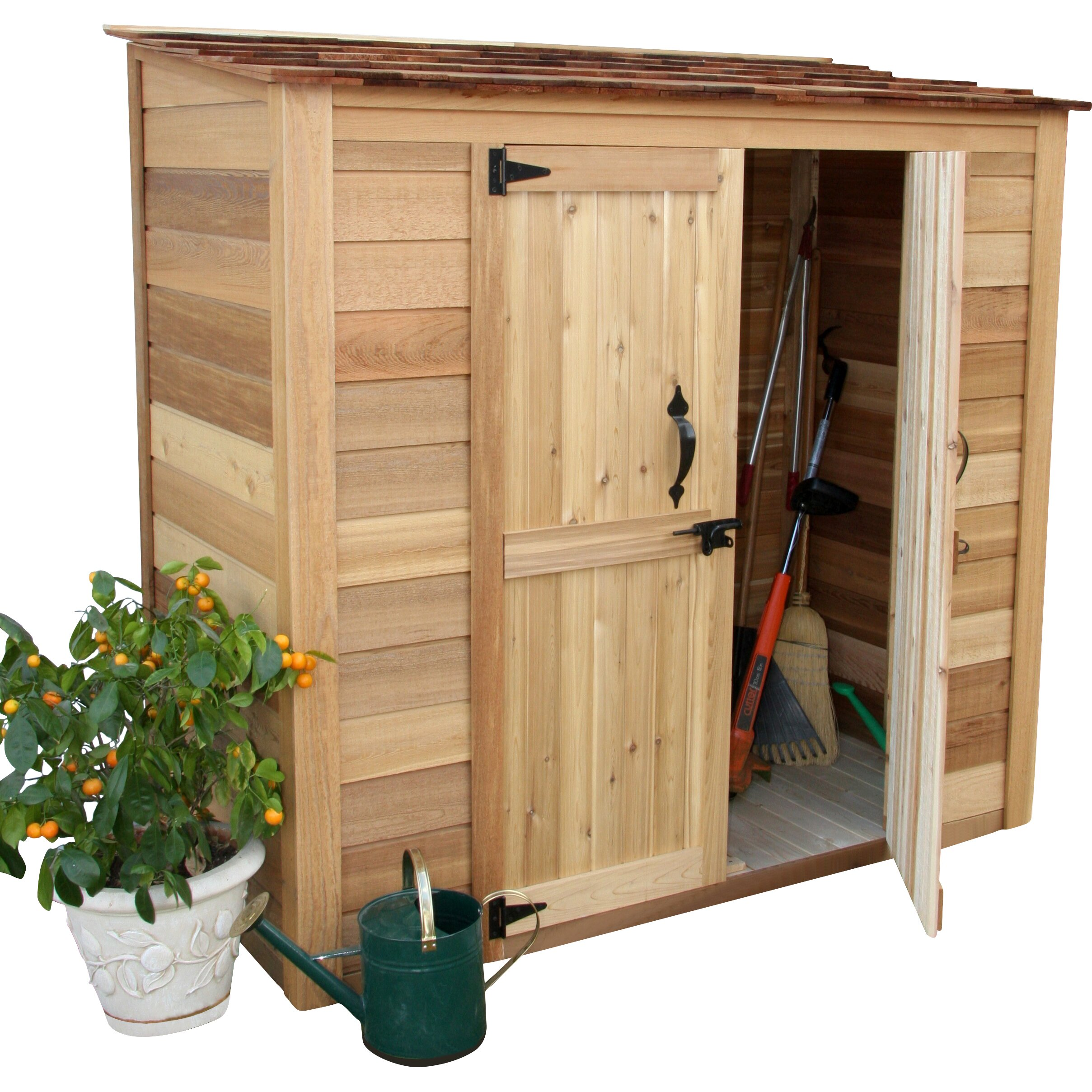 Outdoor living today garden chalet 6 ft w x 3 ft d wood for Outdoor tool shed